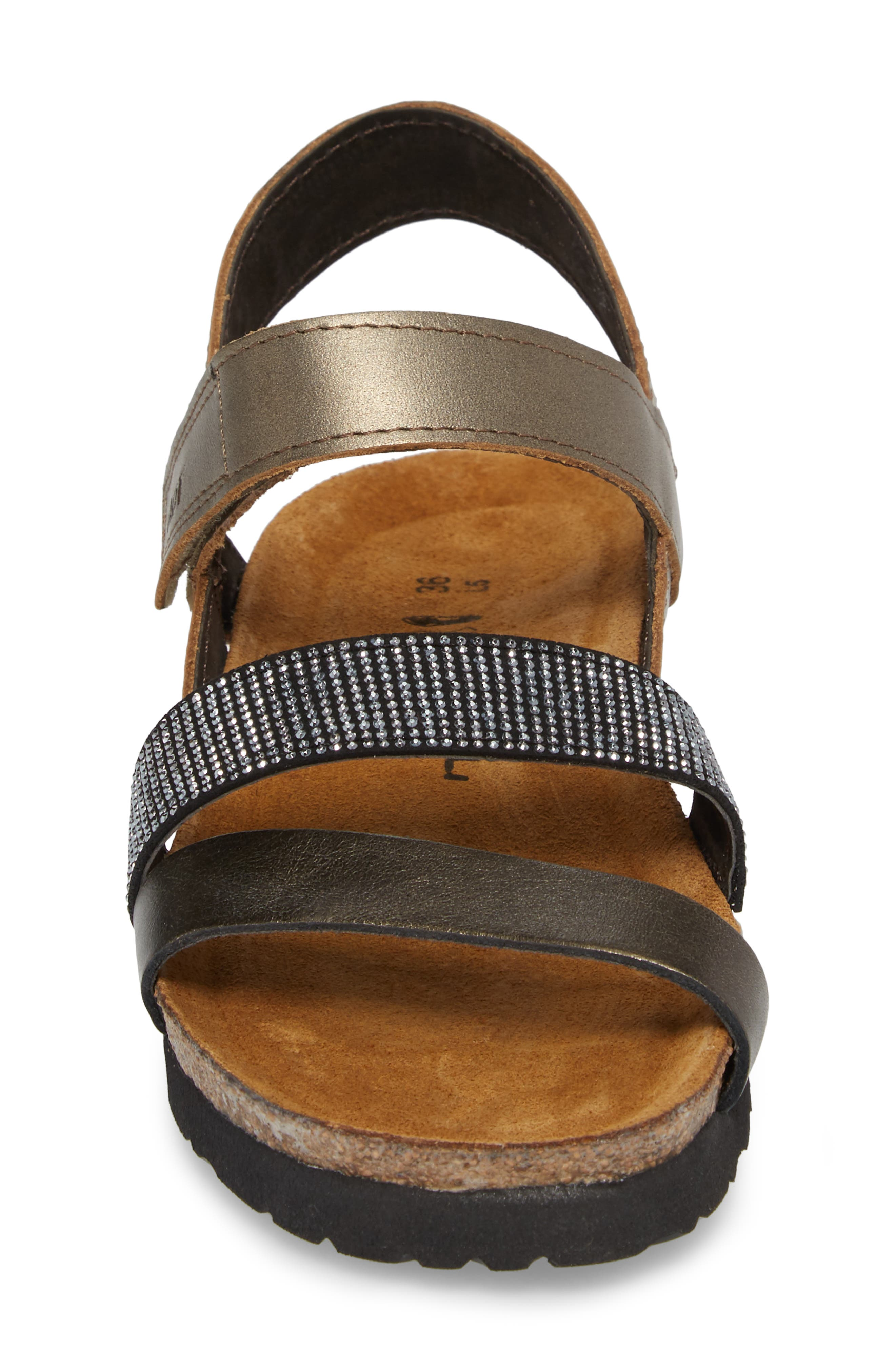 'Krista' Sandal,                             Alternate thumbnail 4, color,                             Pewter Leather