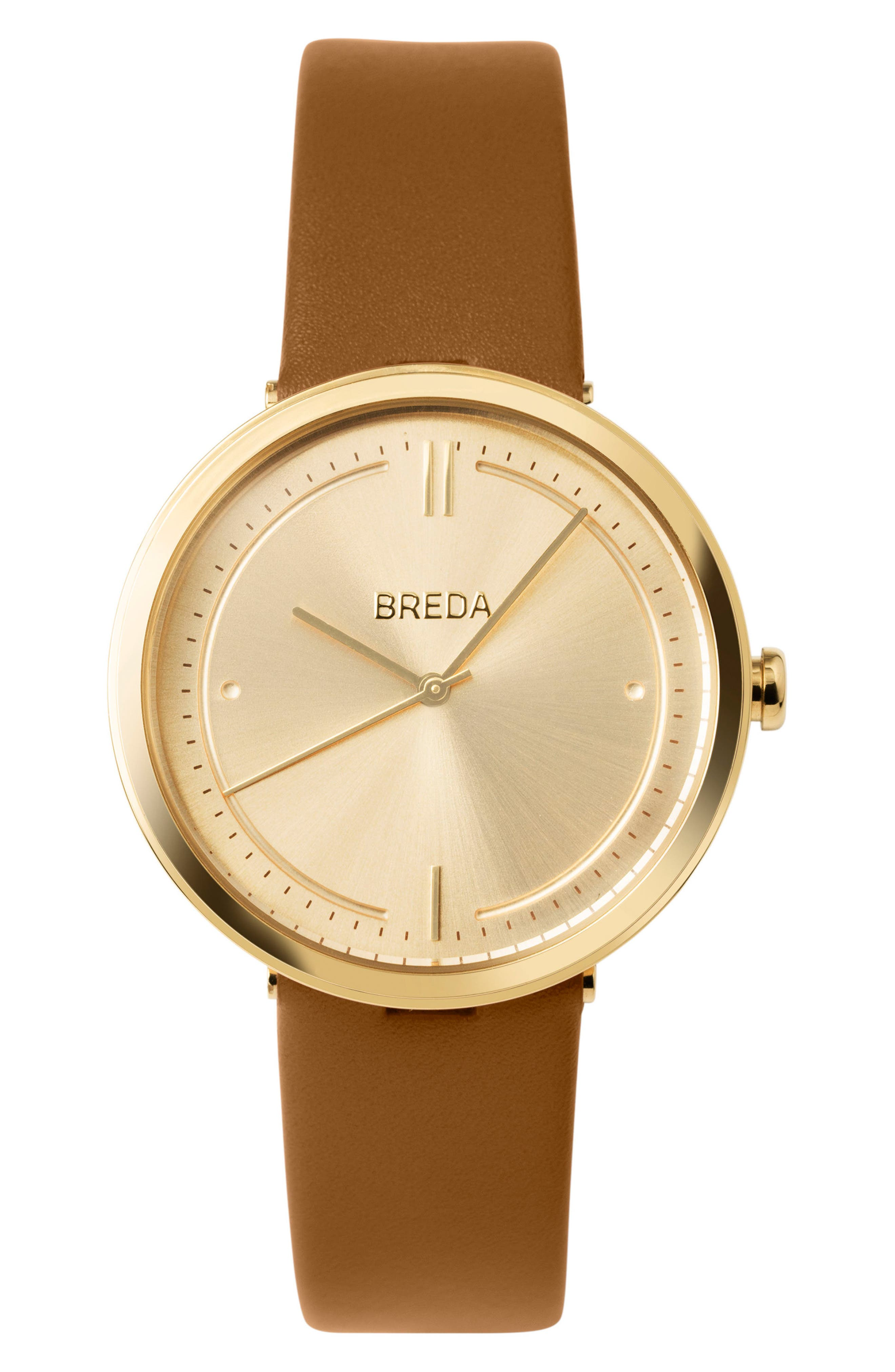 BREDA Agnes Leather Strap Watch, 34mm