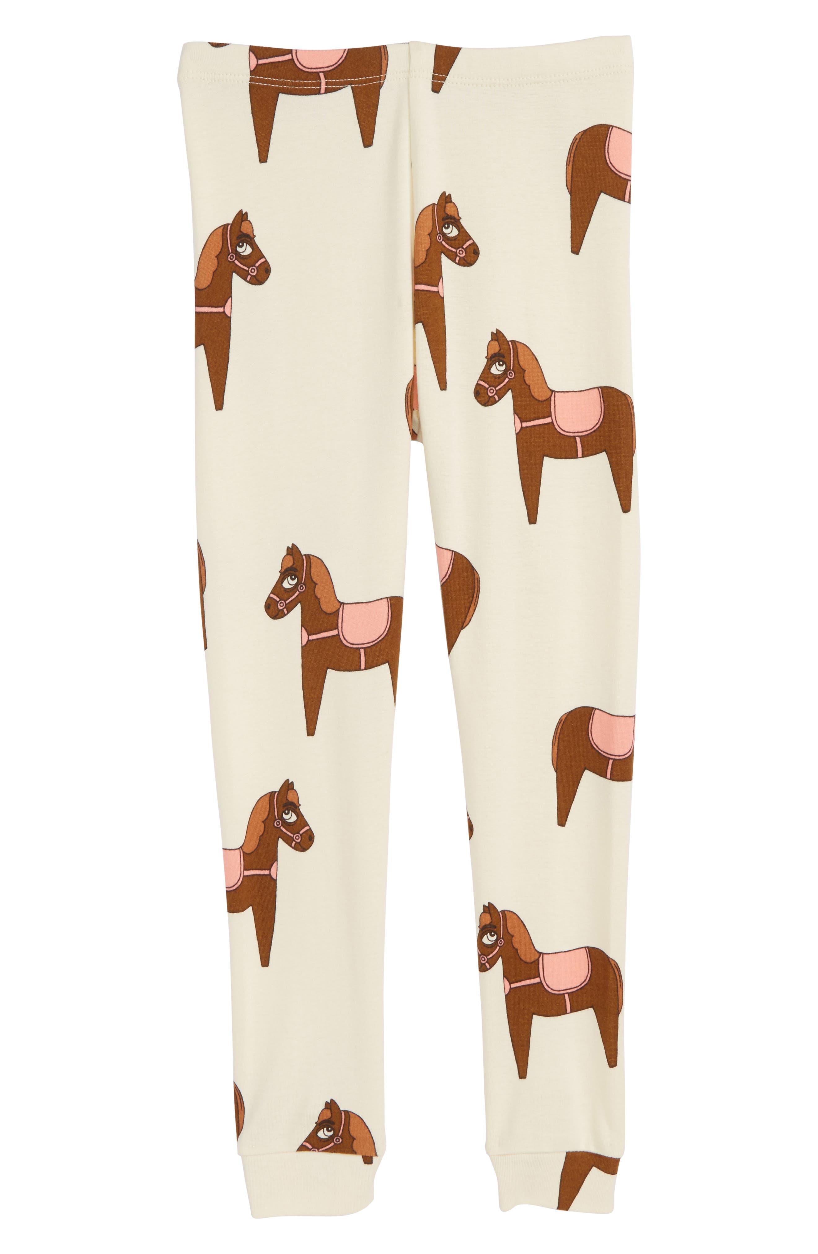 Horse Print Organic Cotton Leggings,                             Main thumbnail 1, color,                             Pink