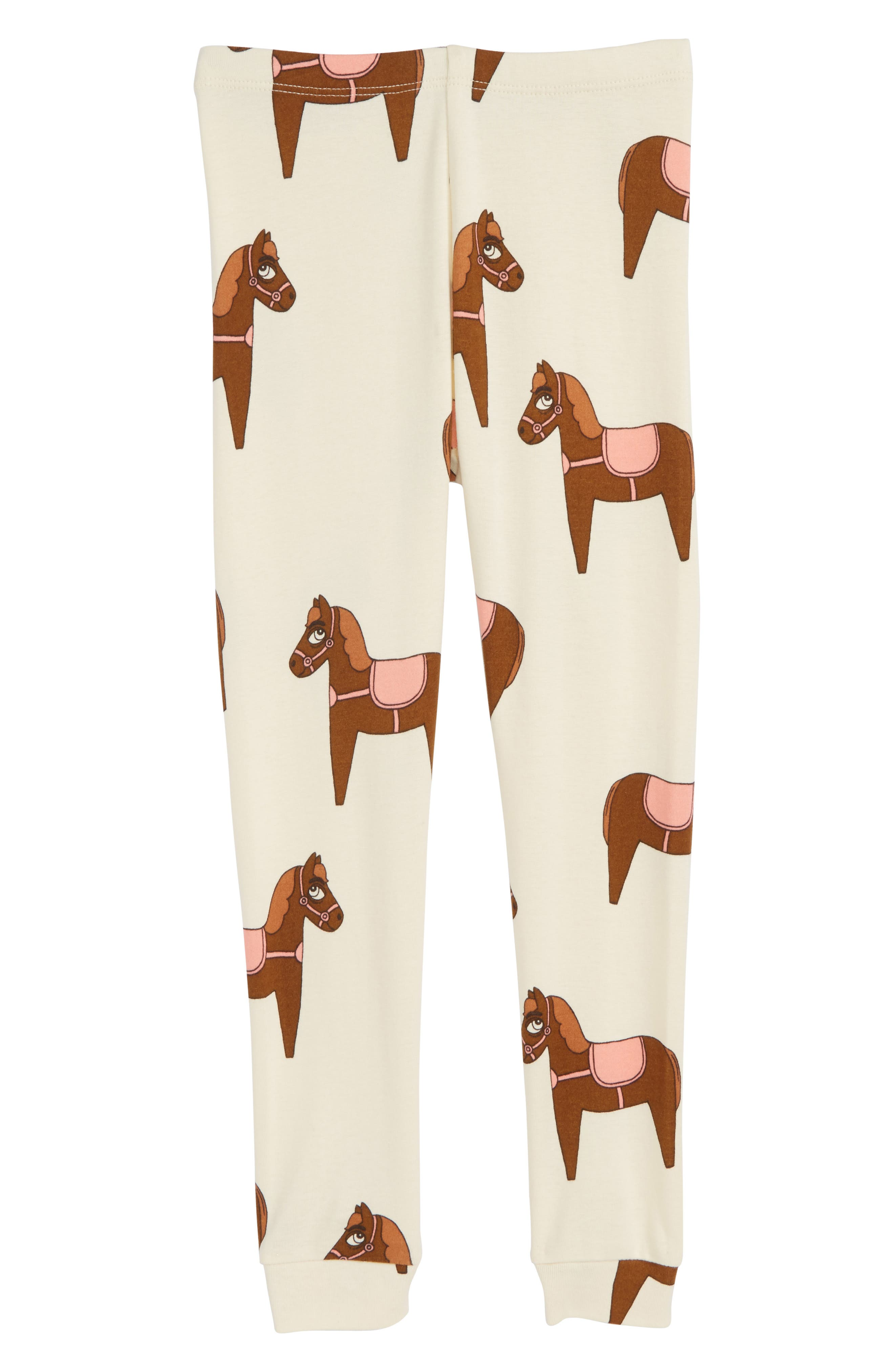 Mini Rodini Horse Print Organic Cotton Leggings (Toddler Girls & Little Girls)