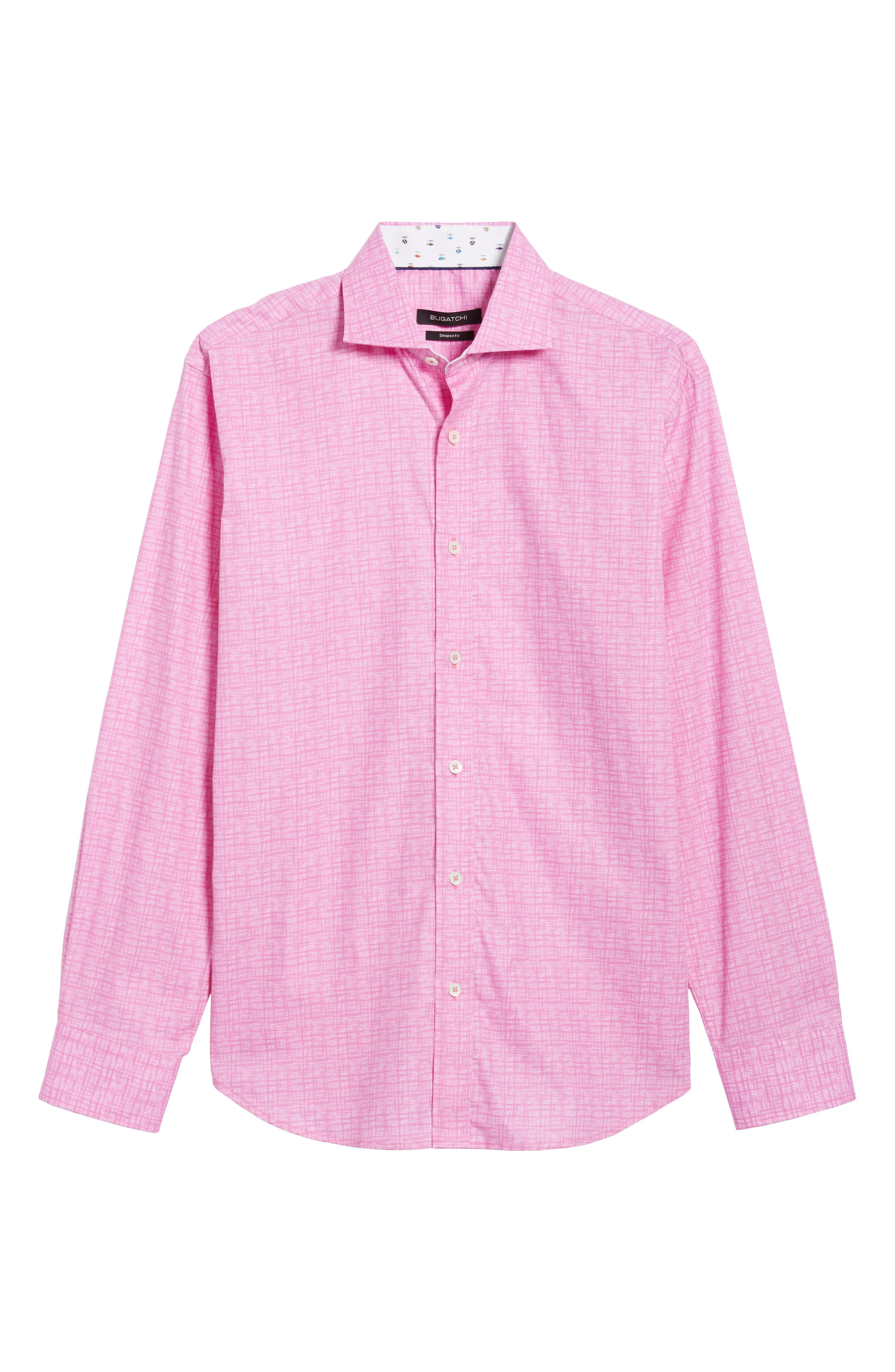Freehand Shaped Fit Sport Shirt,                             Alternate thumbnail 6, color,                             Pink