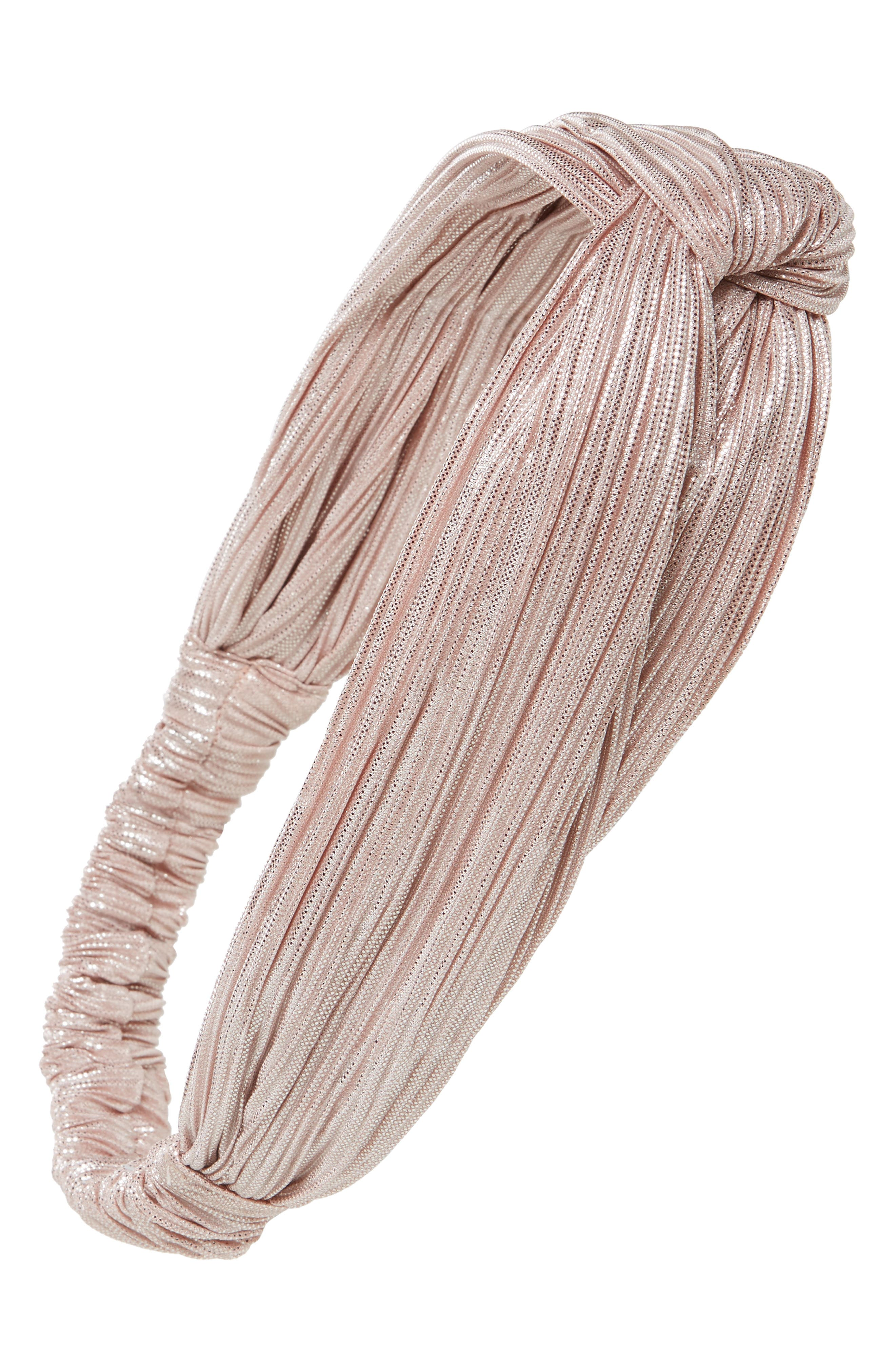 Twisted Shimmer Head Wrap,                         Main,                         color, Rose Gold