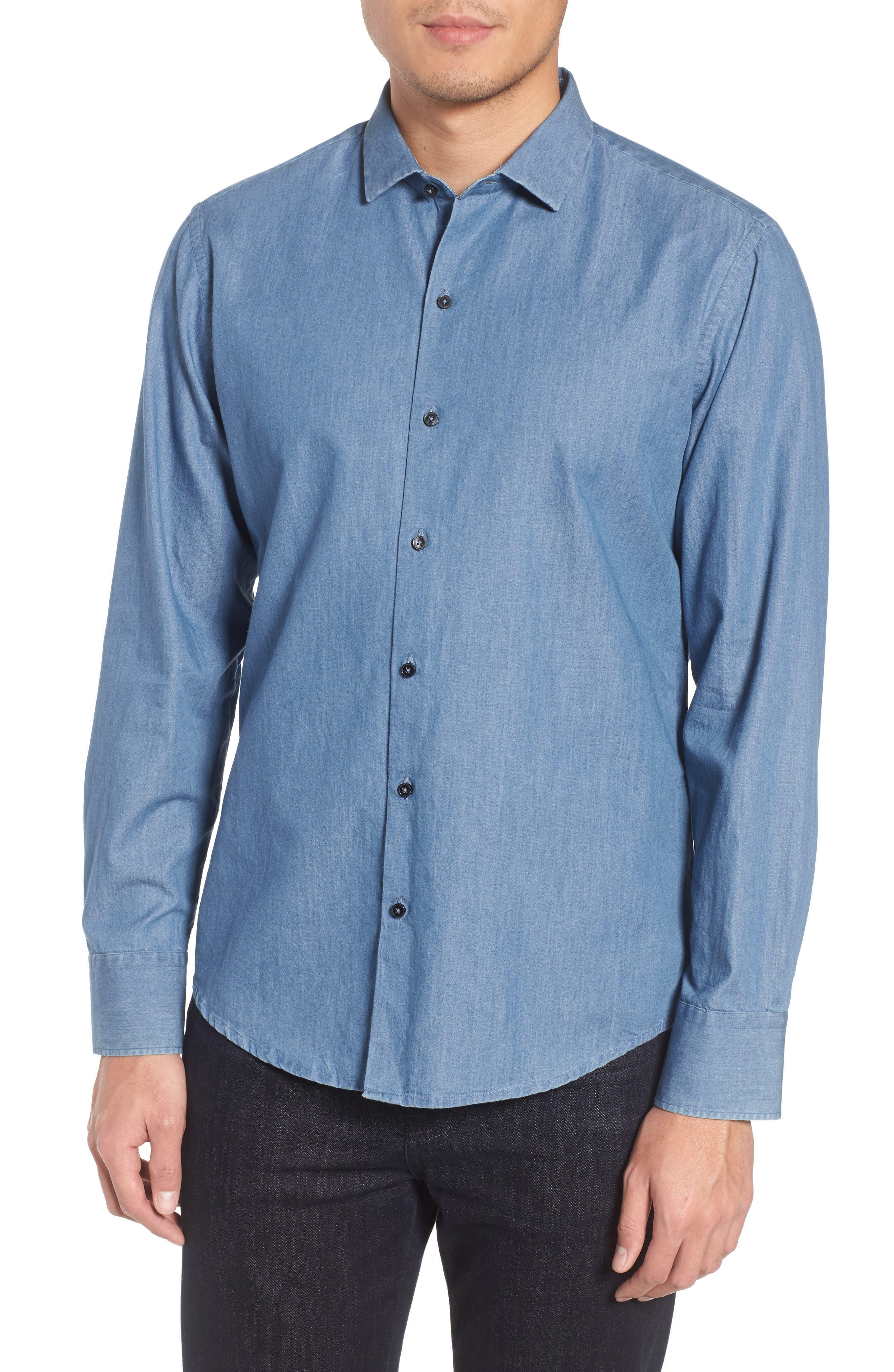 Raider Denim Sport Shirt,                         Main,                         color, Denim