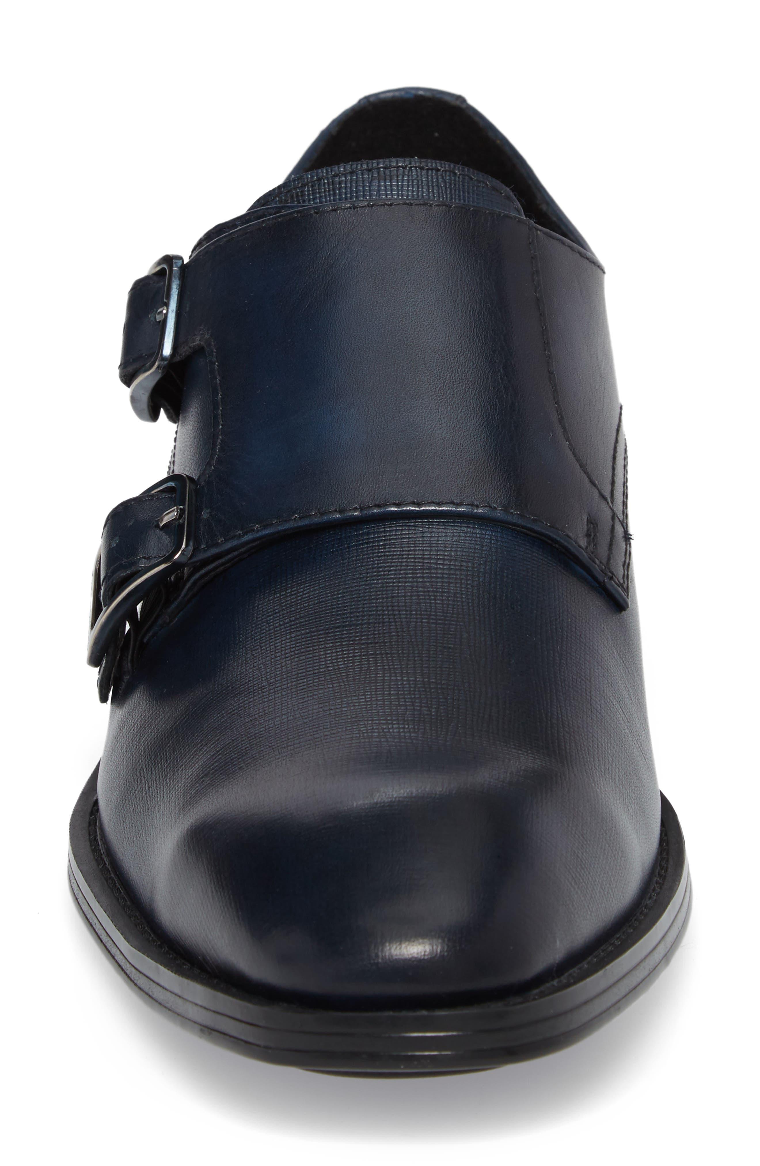 Karl Lagerfeld Double Strap Monk Shoe,                             Alternate thumbnail 4, color,                             Navy