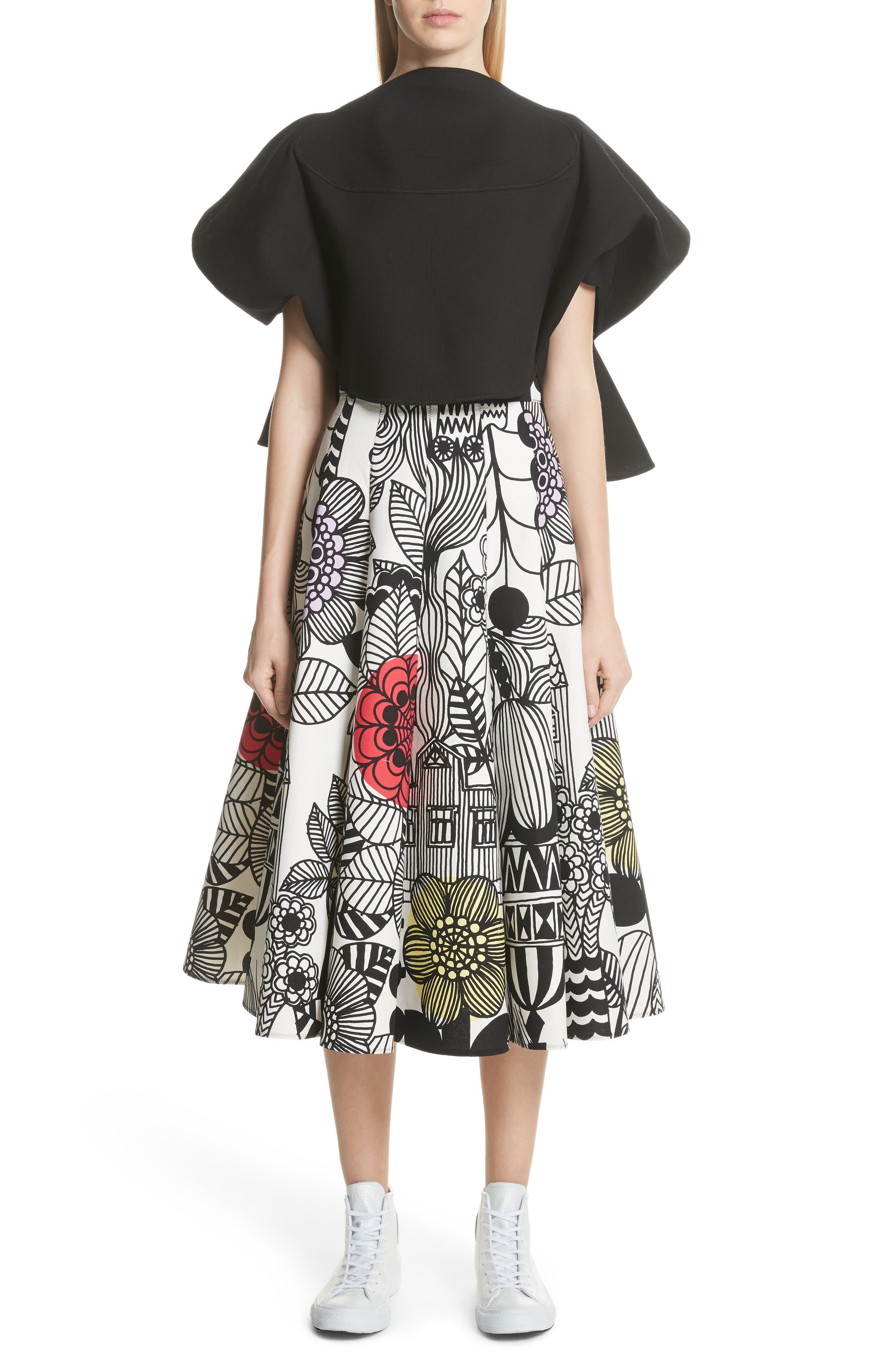 x Marimekko Vegetable Print Cotton Skirt,                             Alternate thumbnail 8, color,                             Wht/ Blk/ Ylw