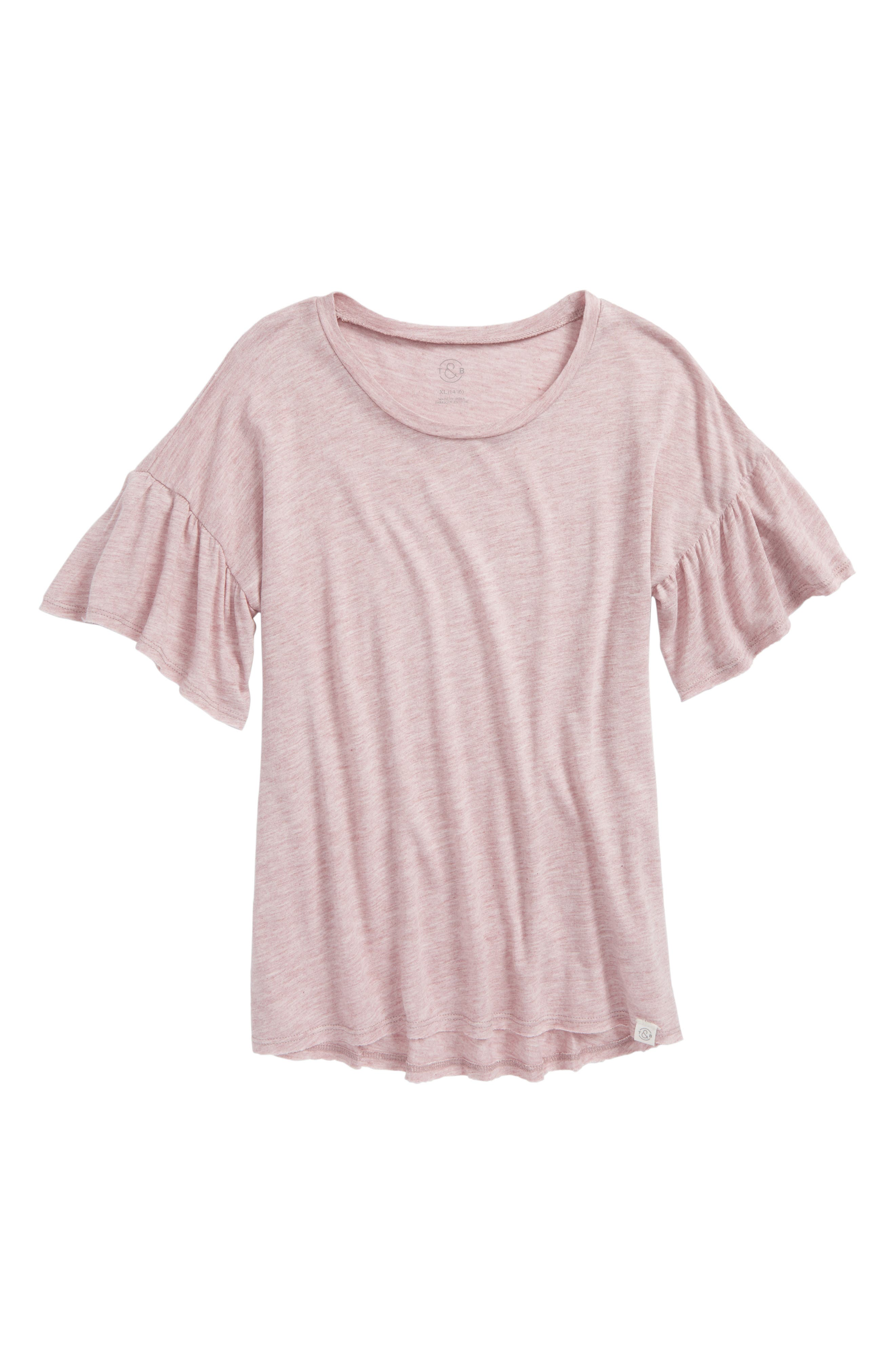 Ruffle Sleeve Tee,                         Main,                         color, Pink Antique