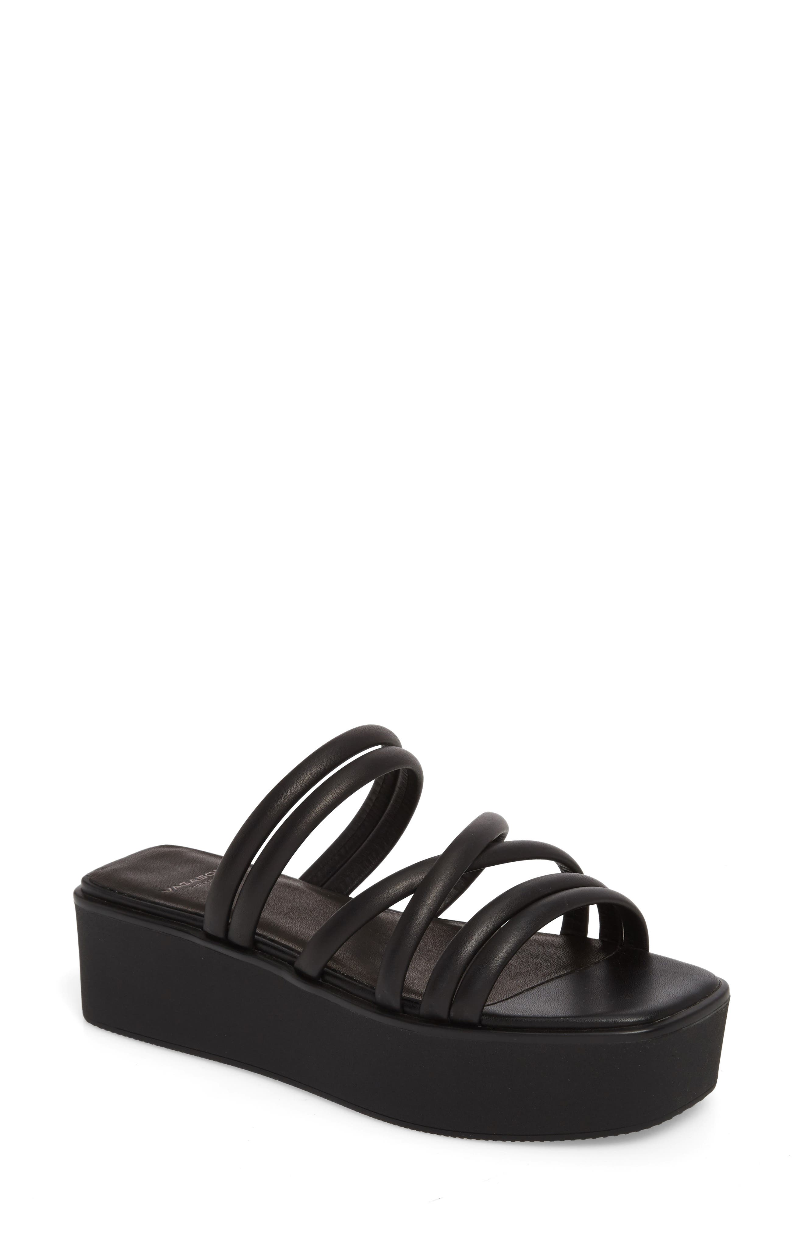 Bonnie Platform Sandal,                         Main,                         color, Black Leather