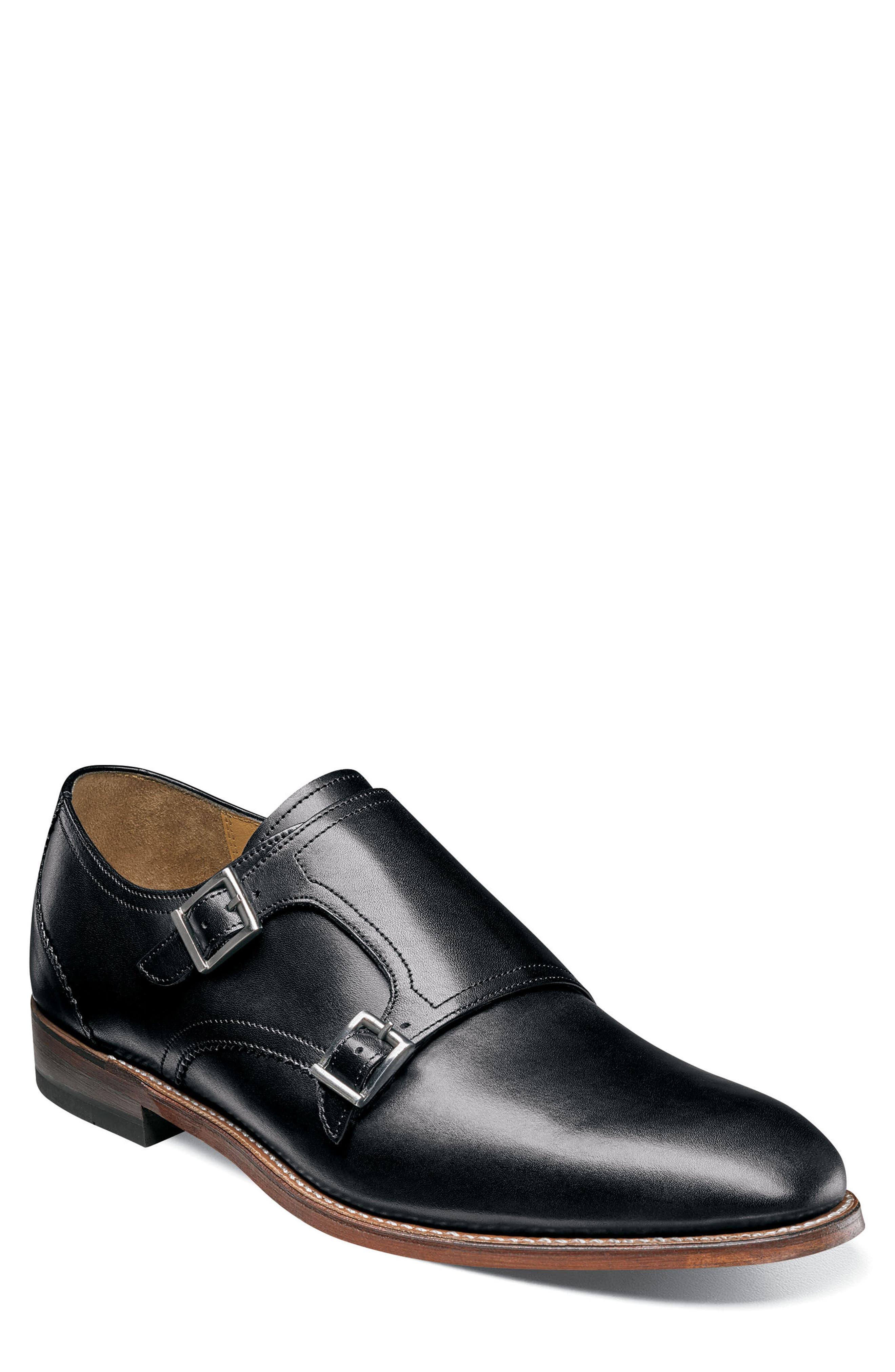 M2 Plain Toe Double Strap Monk Shoe,                             Main thumbnail 1, color,                             Black Leather