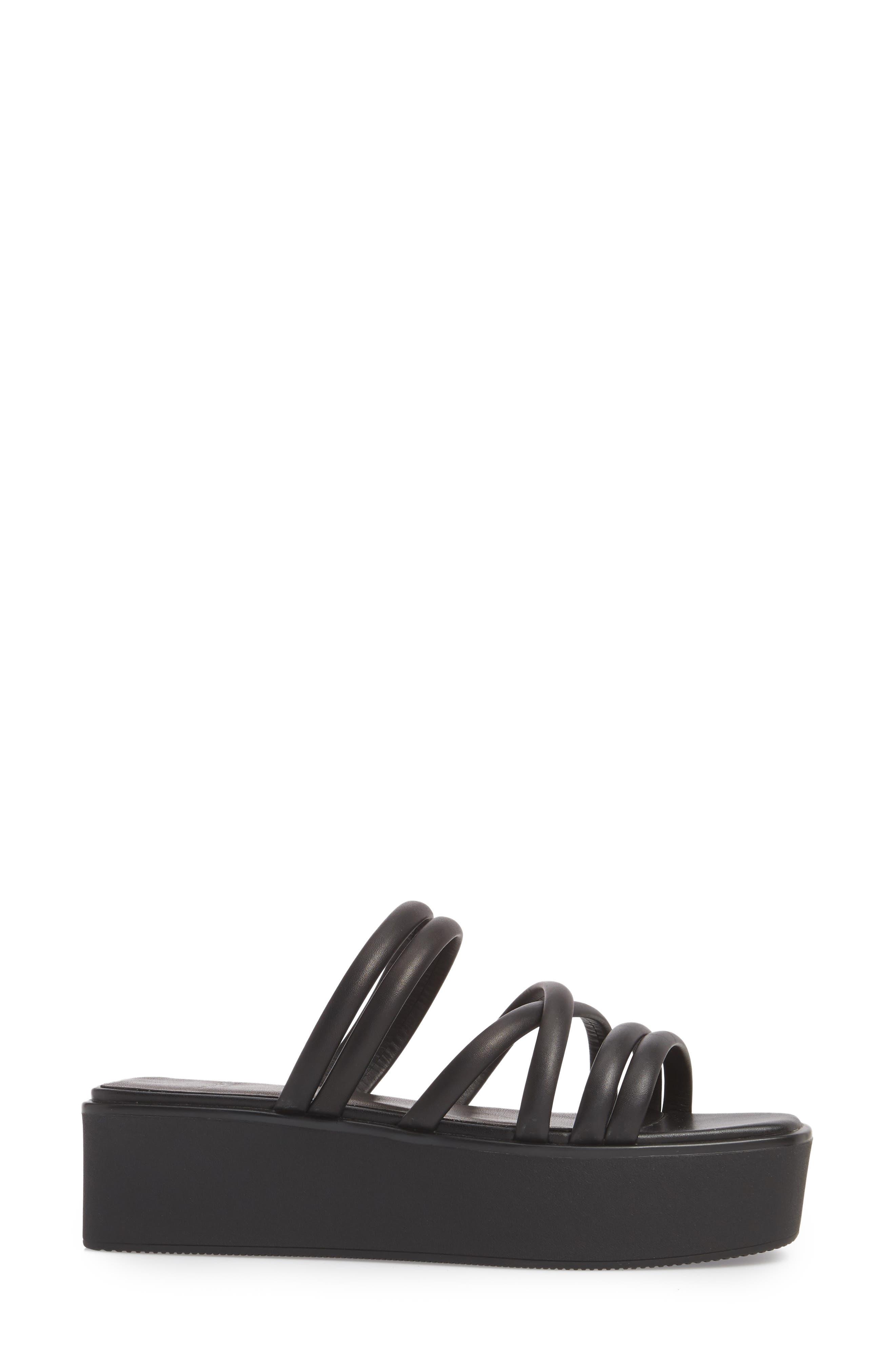 Bonnie Platform Sandal,                             Alternate thumbnail 3, color,                             Black Leather