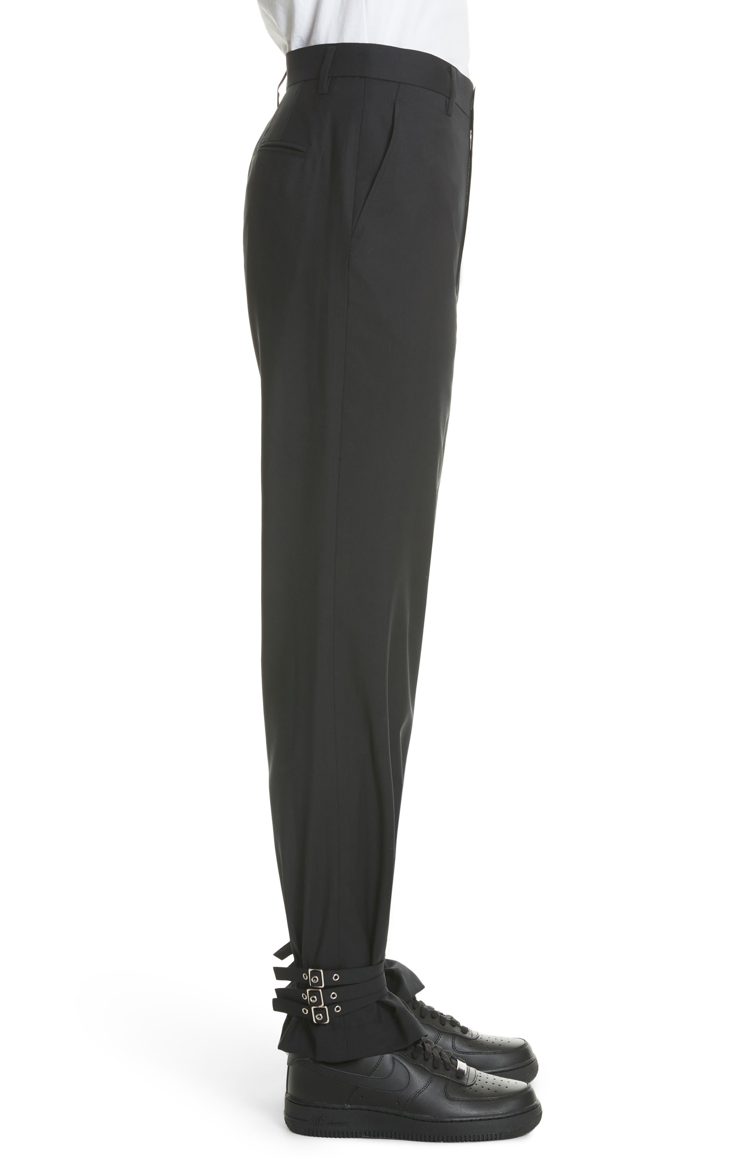 Adjustable Hem Wool & Silk Pants,                             Alternate thumbnail 3, color,                             Black