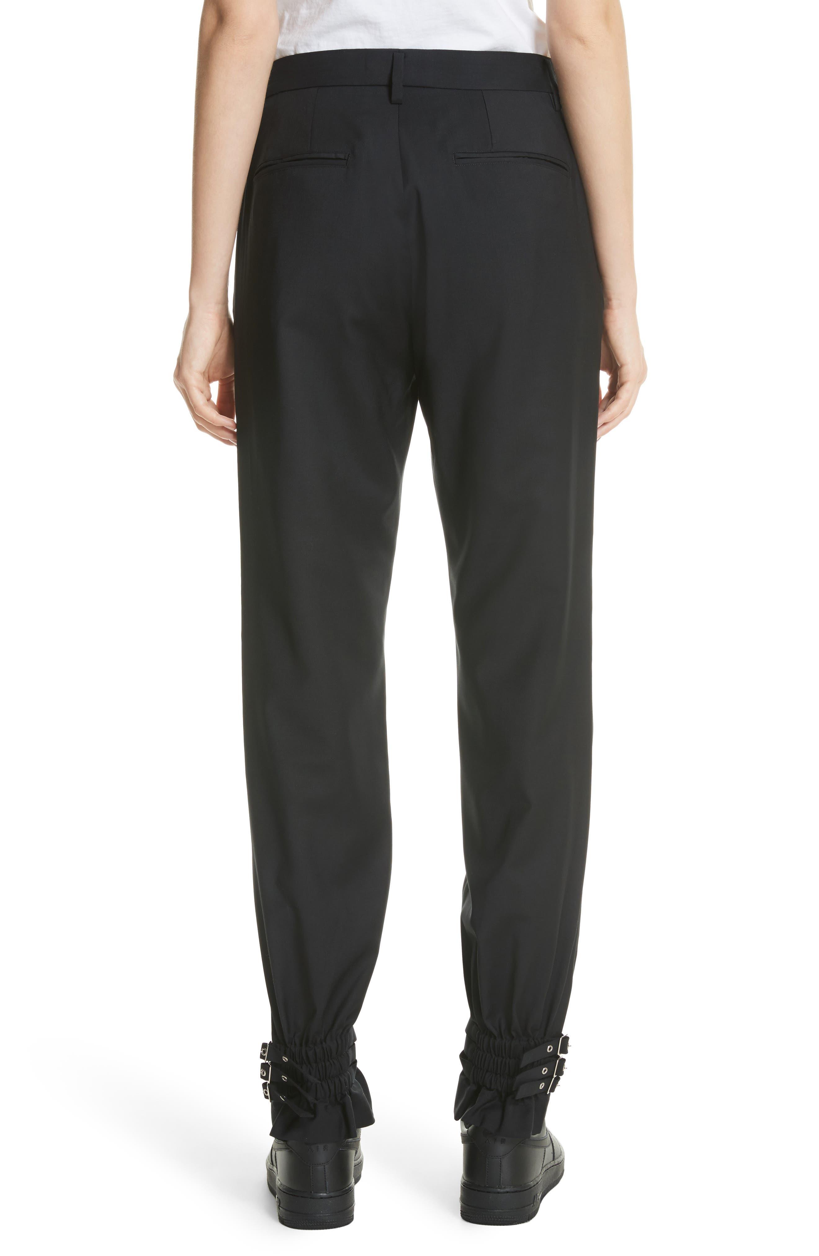 Adjustable Hem Wool & Silk Pants,                             Alternate thumbnail 2, color,                             Black
