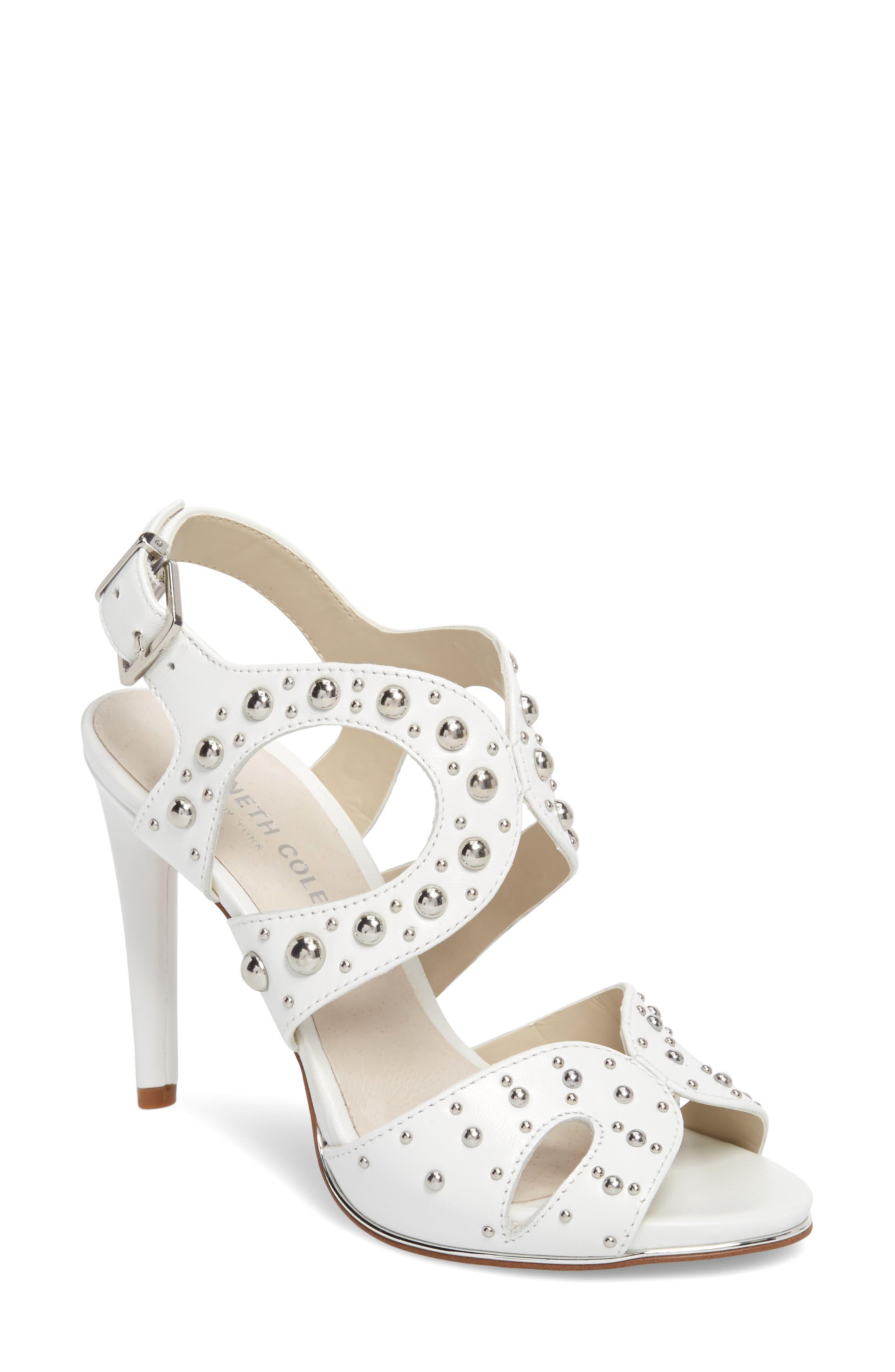 Baldwin Stud Sandal,                         Main,                         color, White Leather