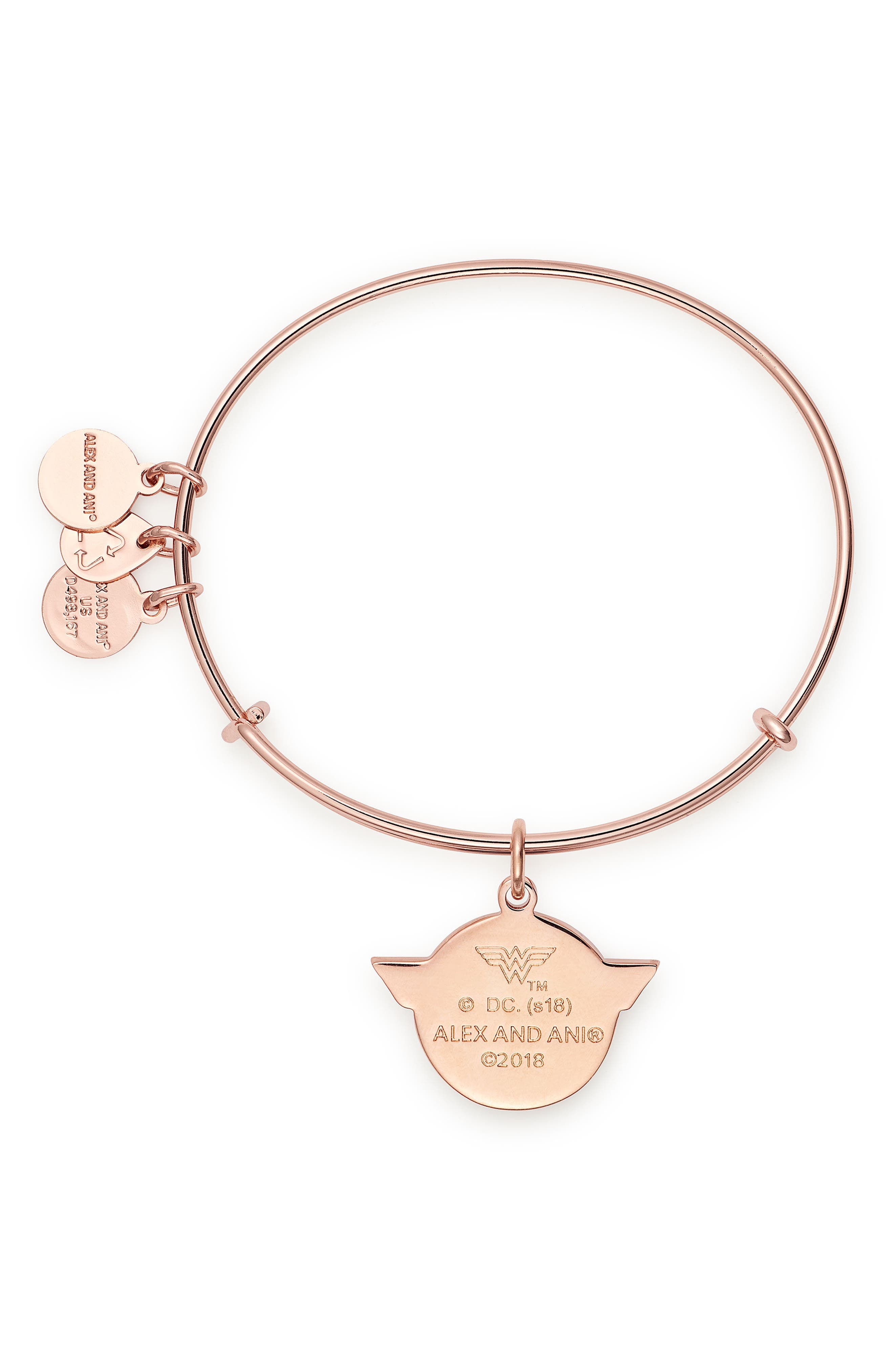 Wonder Woman Color Infusion Charm Bangle,                             Alternate thumbnail 2, color,                             Rose Gold