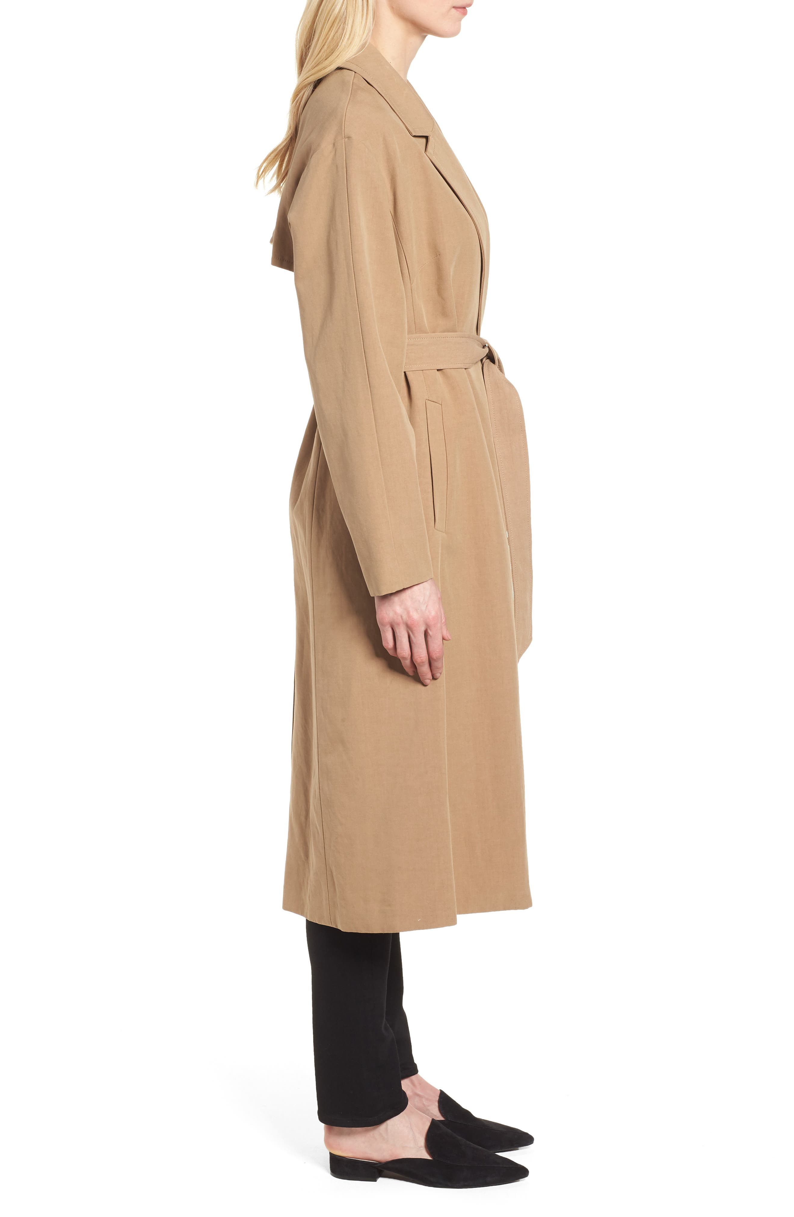 Double Face Wrap Maxi Jacket,                             Alternate thumbnail 3, color,                             Toffee