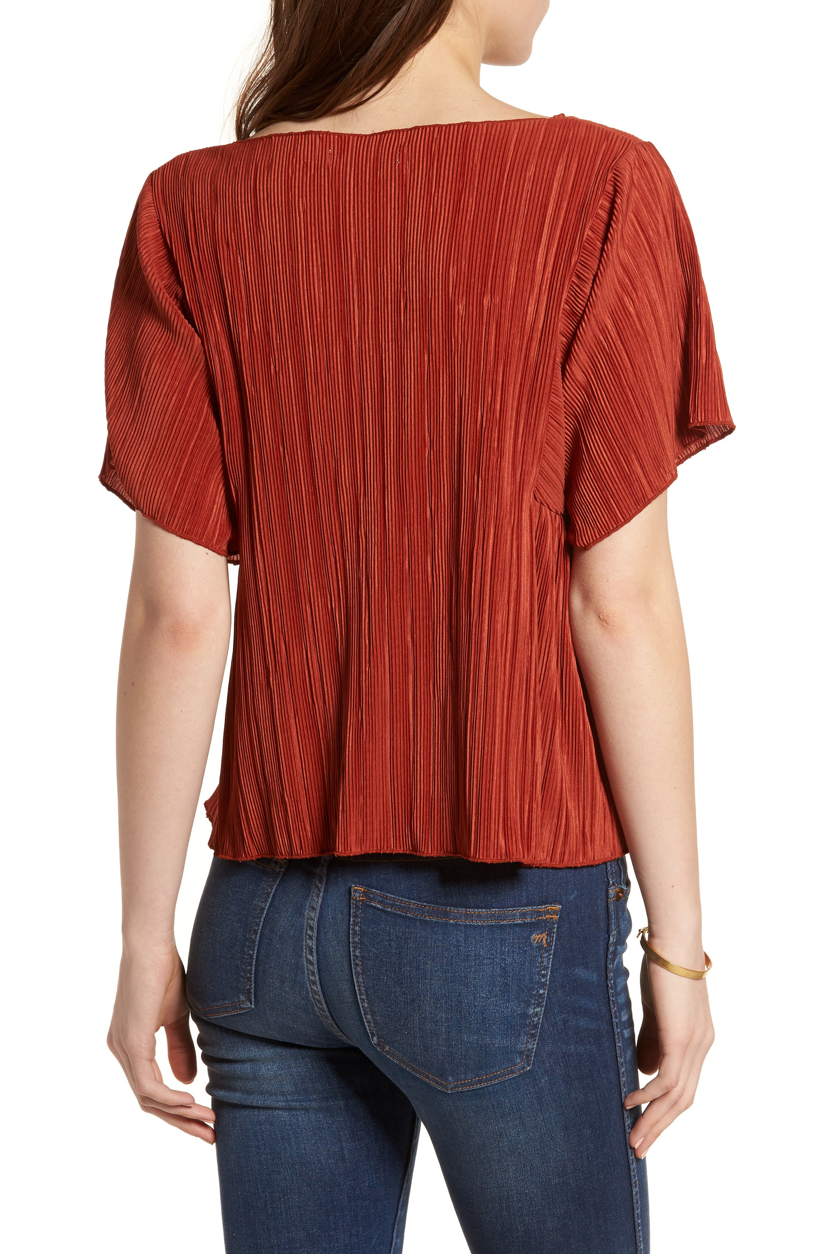 Micropleat Top,                             Alternate thumbnail 2, color,                             Rusty Torch