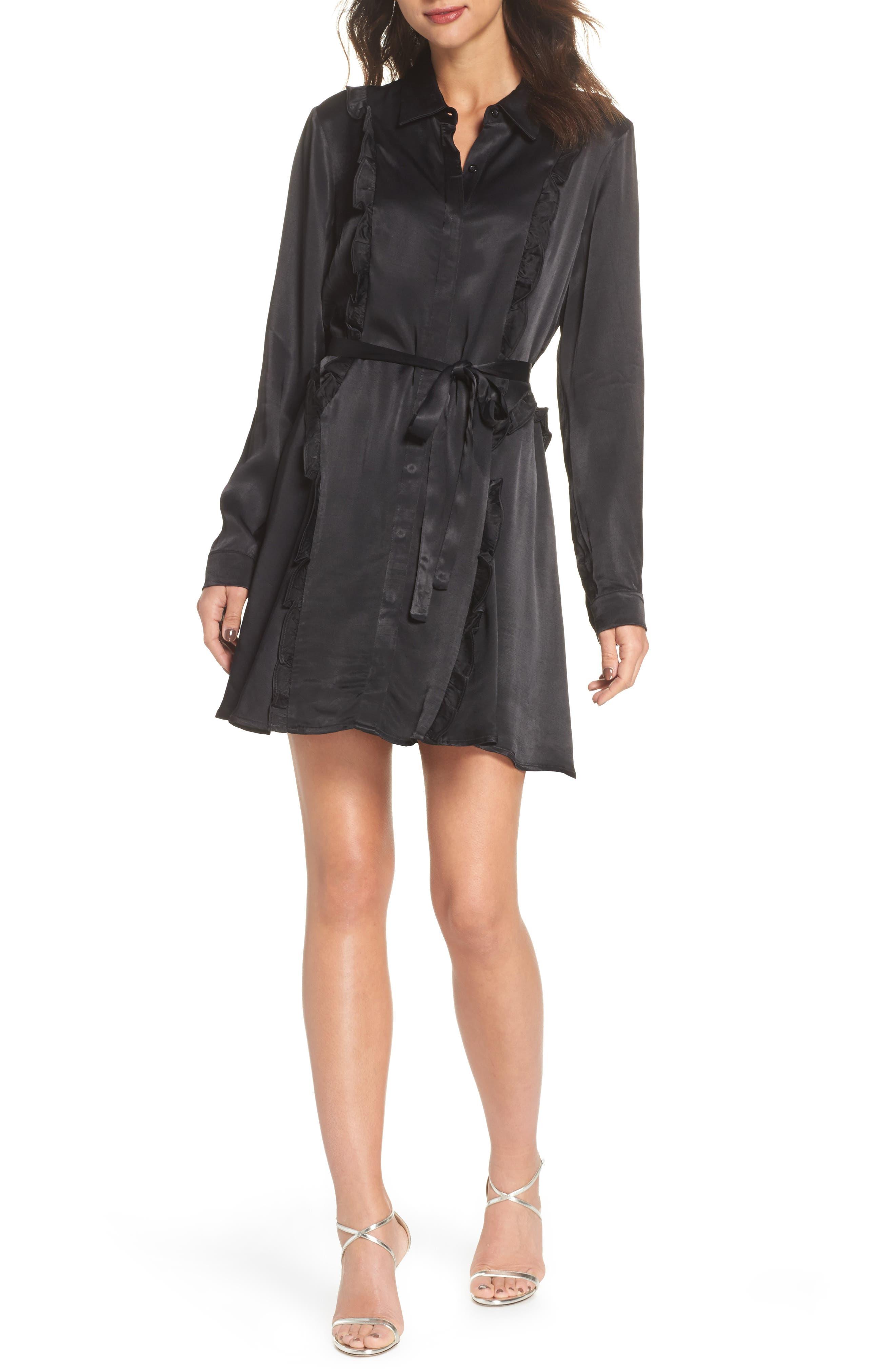 Cassia Ruffle Trim Shirtdress,                             Main thumbnail 1, color,                             Black