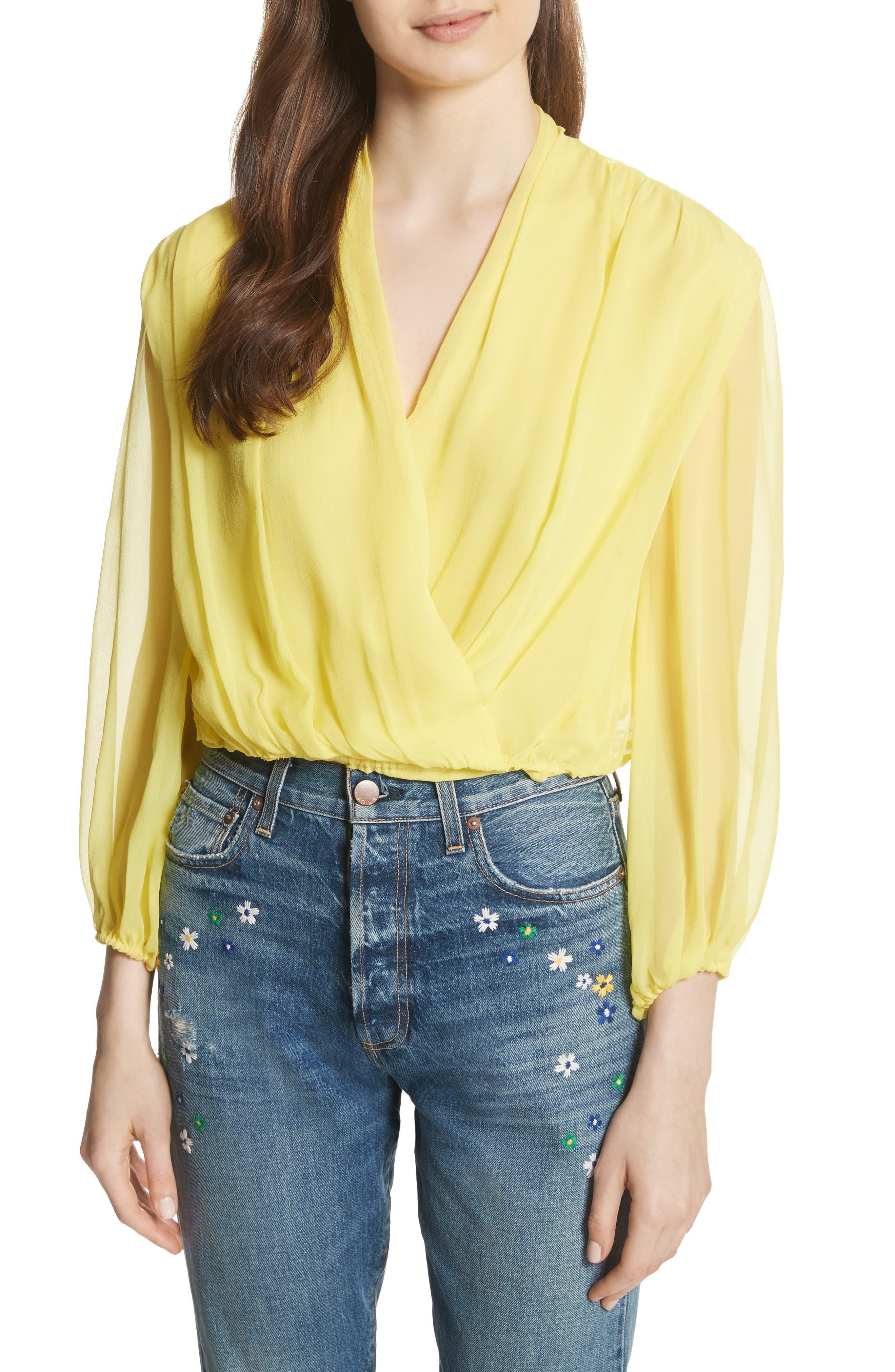 Trista Faux Wrap Silk Blouson Top,                         Main,                         color, Lemon