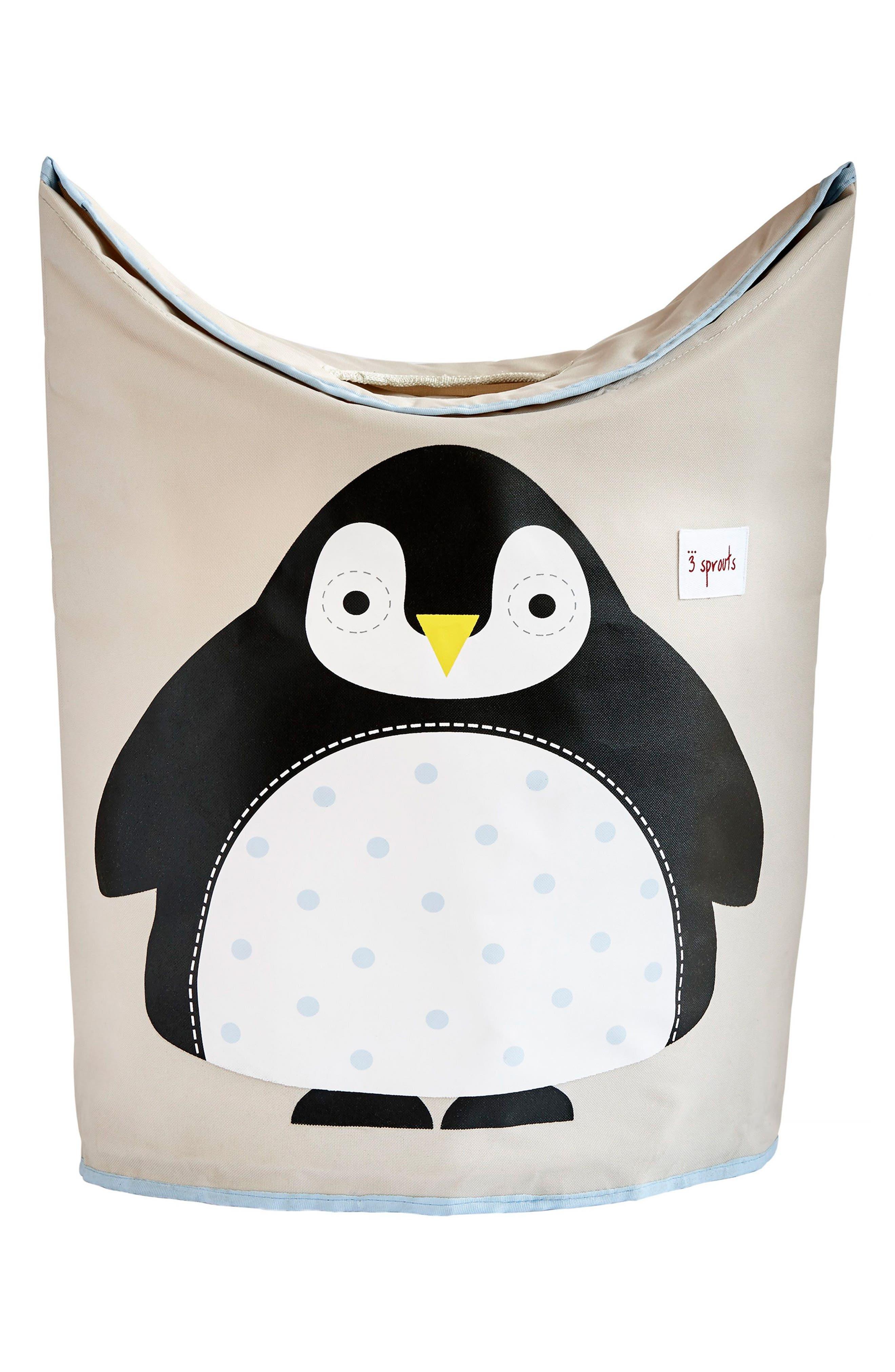 Penguin Canvas Laundry Hamper,                             Main thumbnail 1, color,                             Black