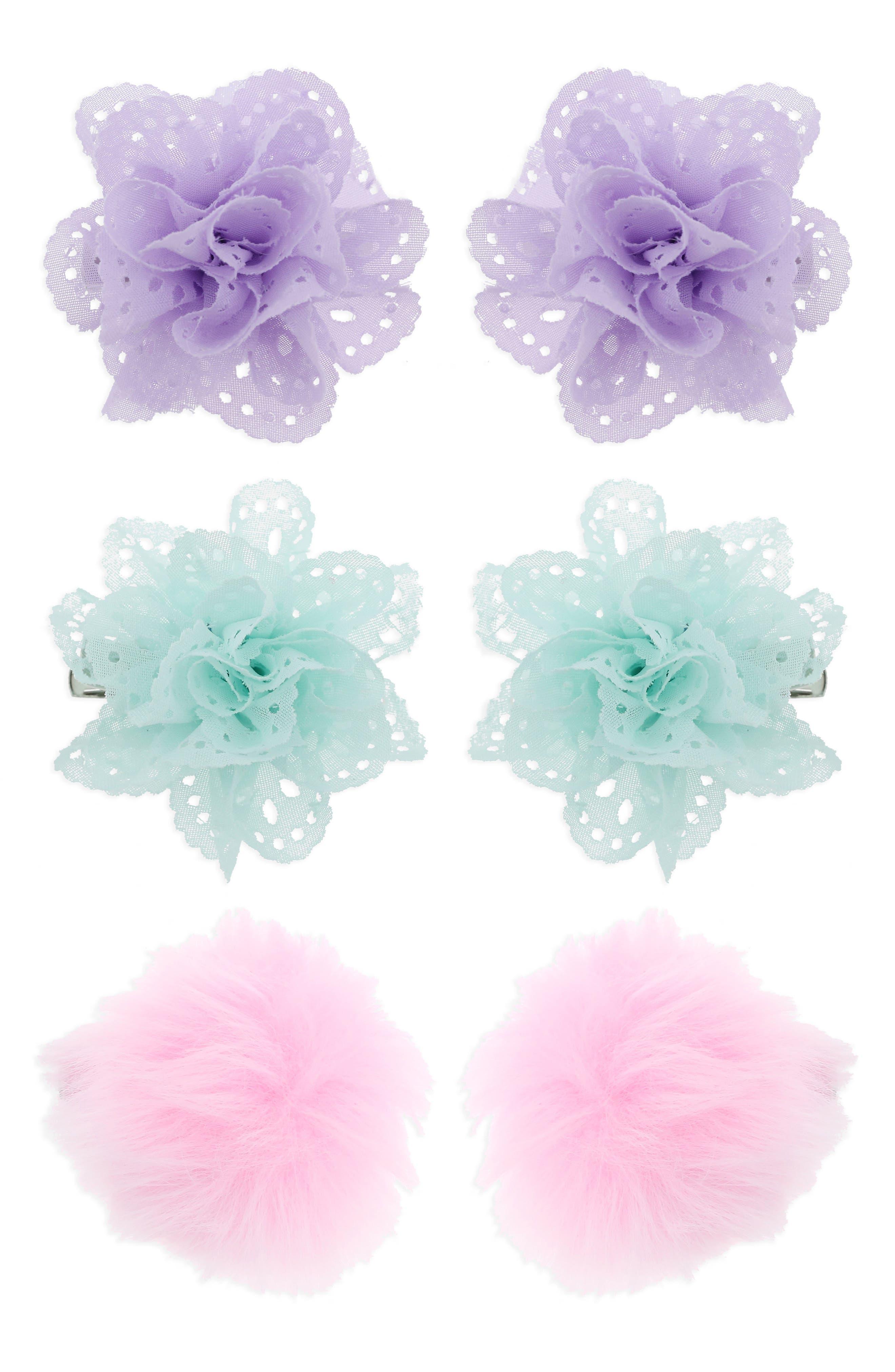 6-Pack Flower & Pompom Hair Clips,                             Main thumbnail 1, color,                             Pastel Combo