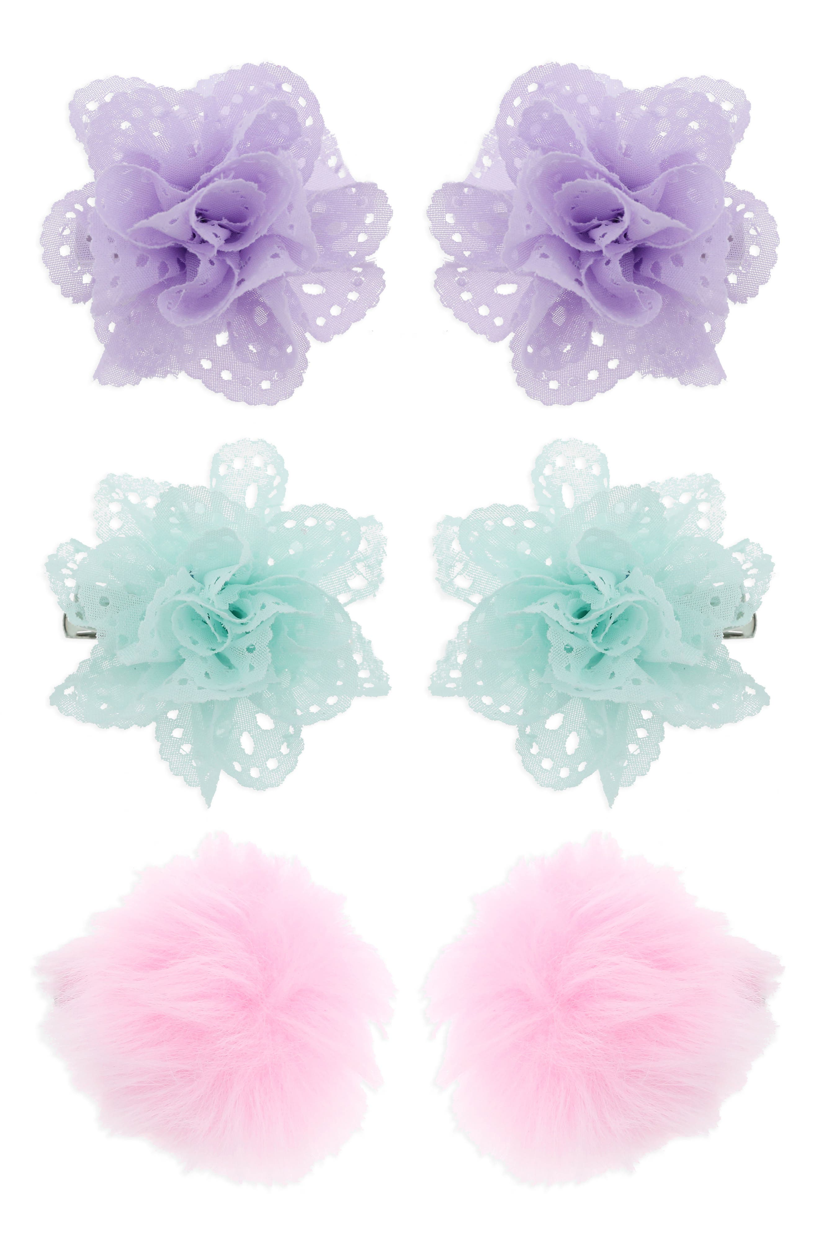 6-Pack Flower & Pompom Hair Clips,                         Main,                         color, Pastel Combo