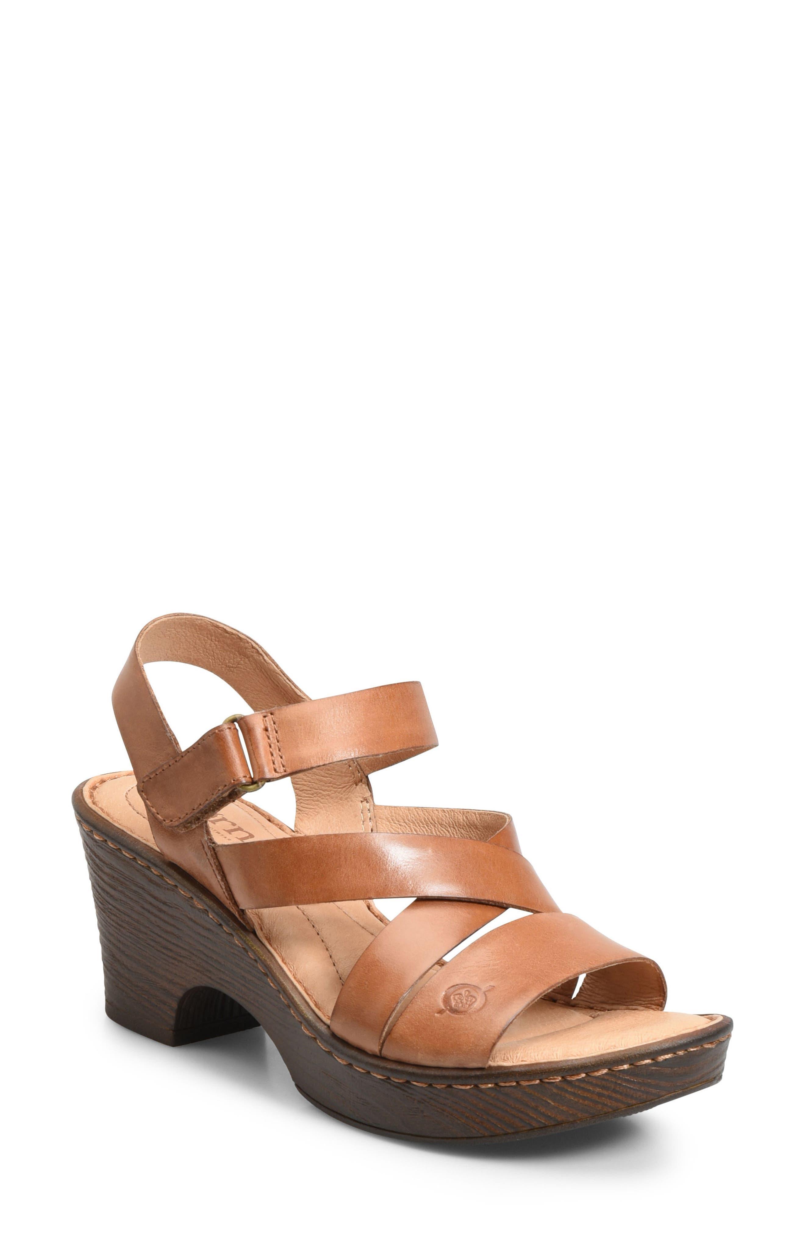 Cubera Platform Sandal,                         Main,                         color, Brown Leather