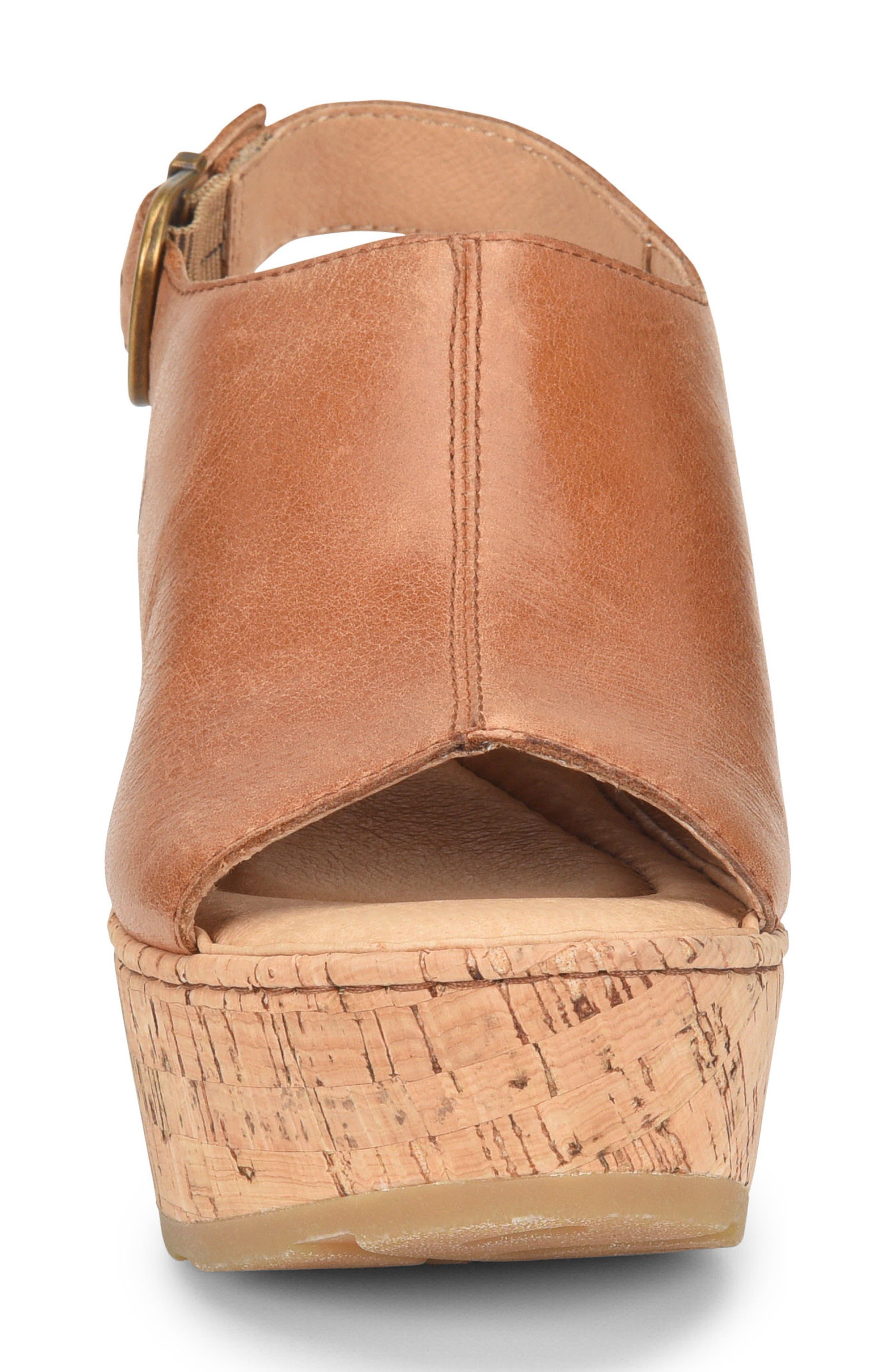 Orbit Platform Wedge Sandal,                             Alternate thumbnail 4, color,                             Brown Leather