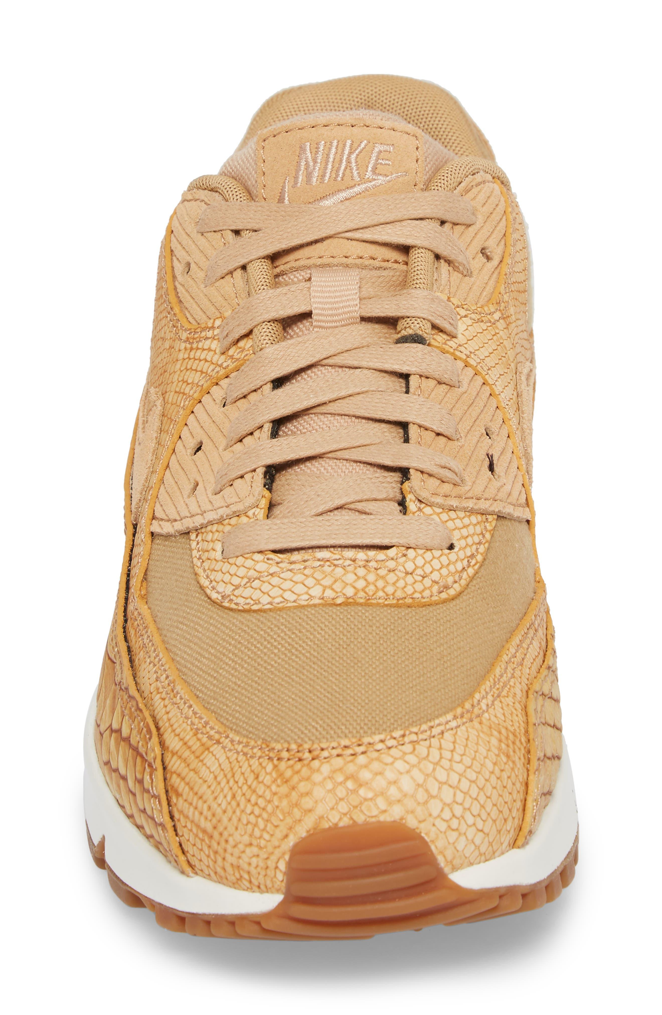 Air Max 90 Premium Sneaker,                             Alternate thumbnail 4, color,                             Tan/ Tan/ Elemental Gold