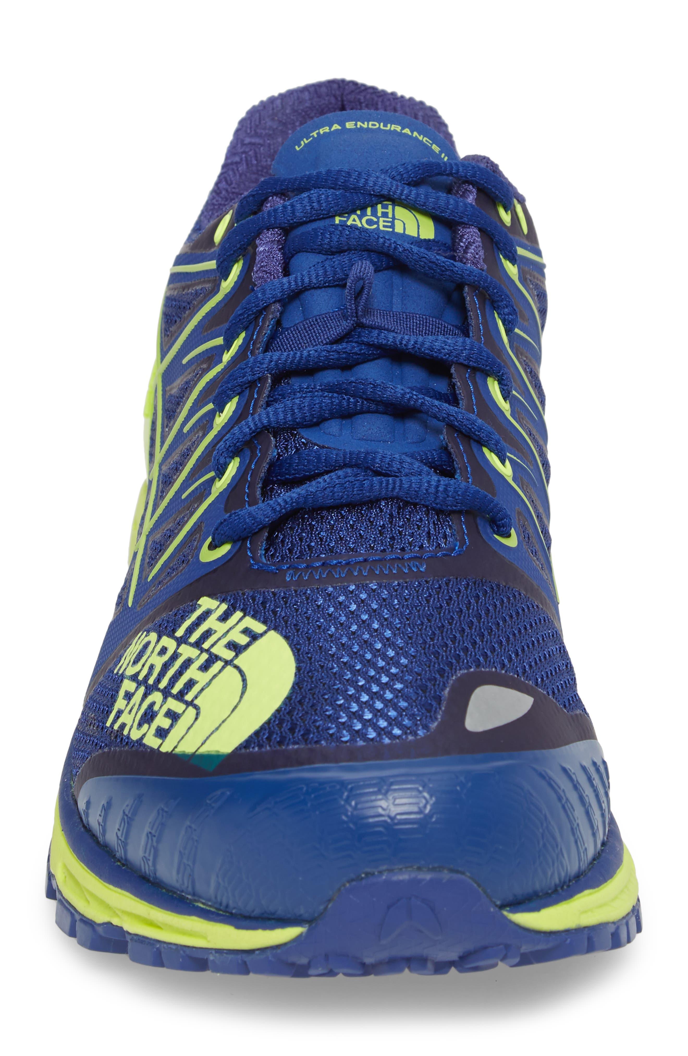 Ultra Endurance II Trail Running Shoe,                             Alternate thumbnail 4, color,                             Brit Blue/ Dayglo Yellow