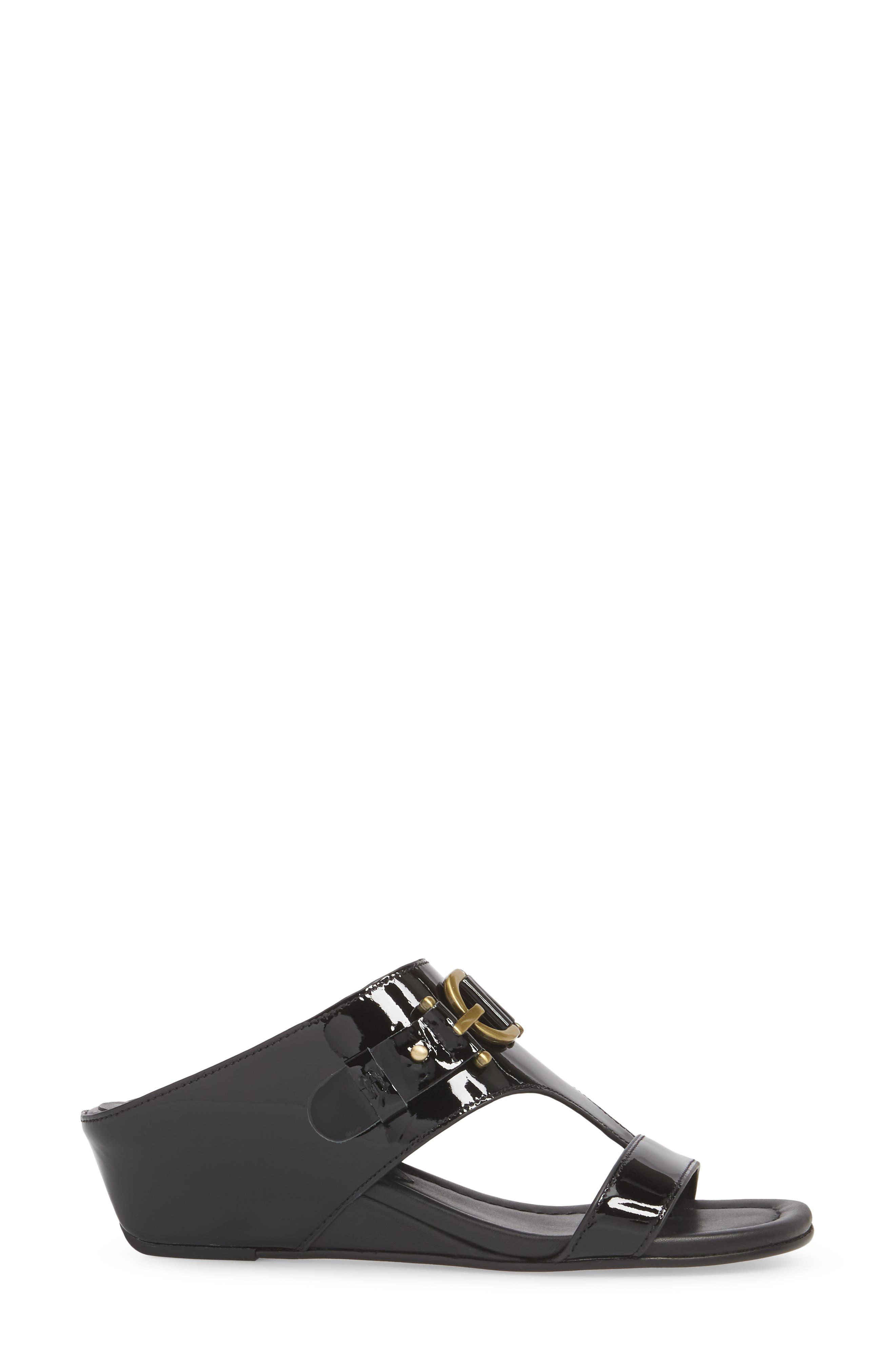 Dayna Wedge Sandal,                             Alternate thumbnail 6, color,                             Black Leather