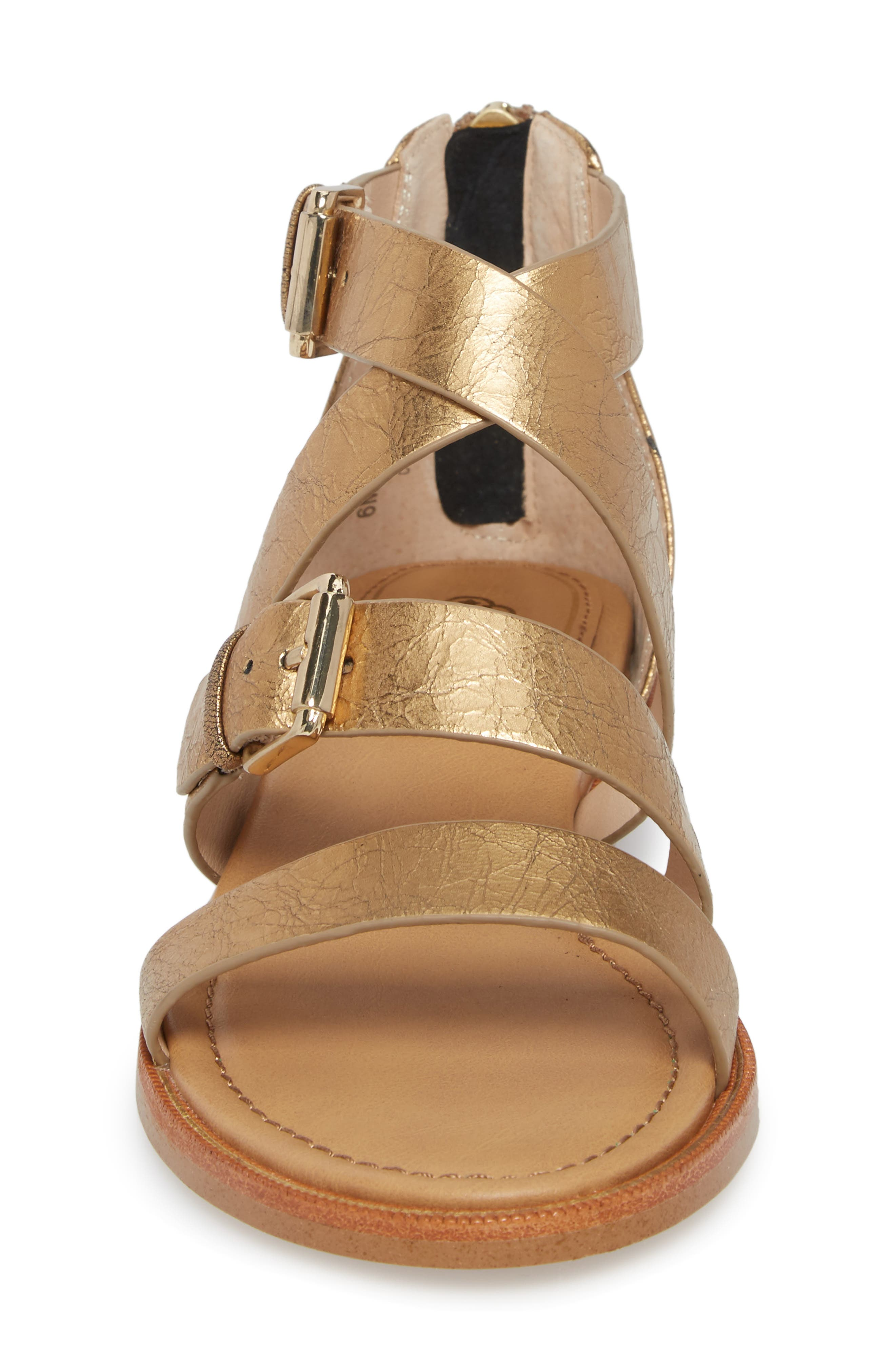 Isola Sharni Sandal,                             Alternate thumbnail 4, color,                             Old Gold Leather