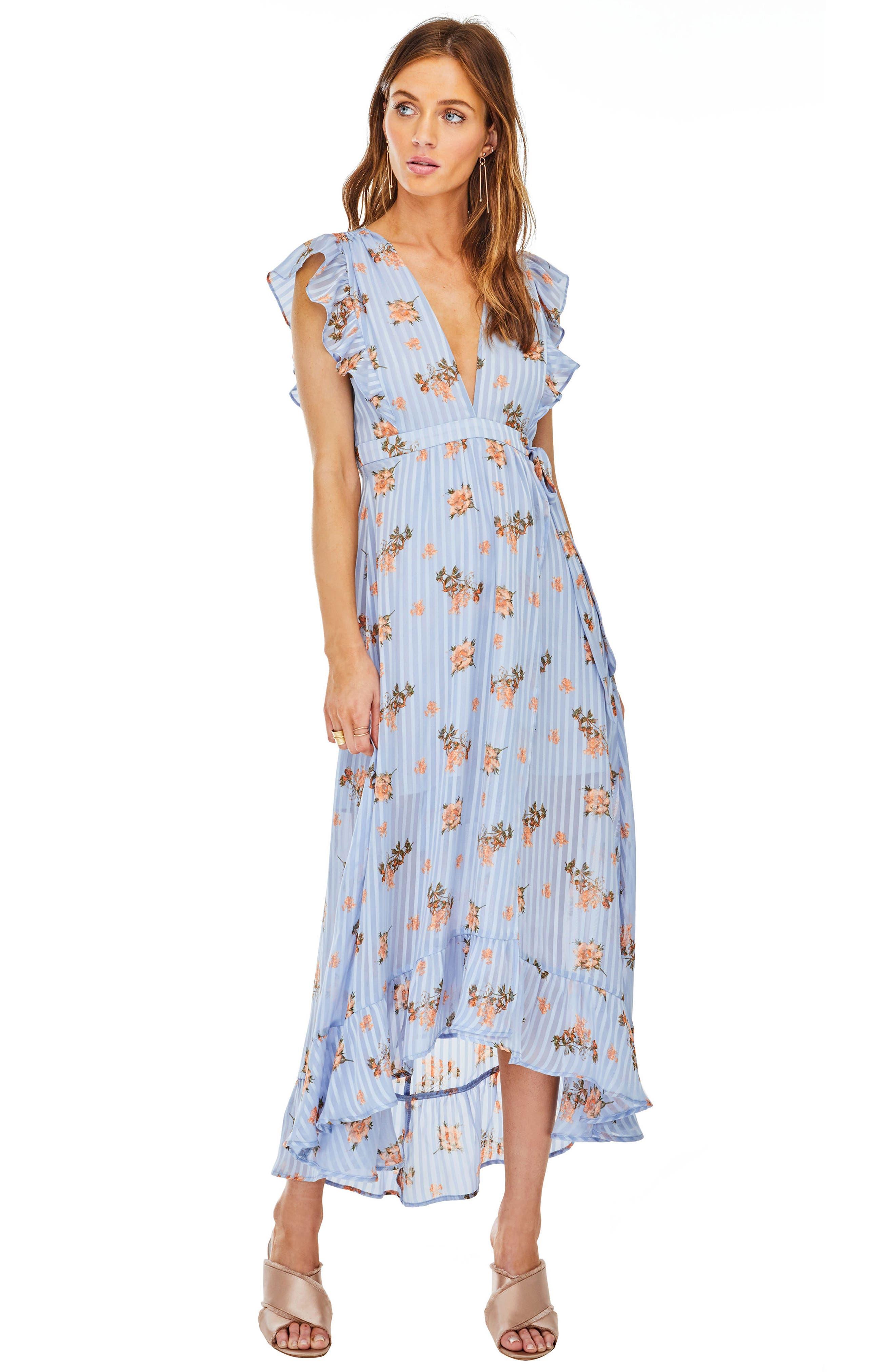 Lila Midi Dress,                             Alternate thumbnail 5, color,                             Blue/Peach Floral