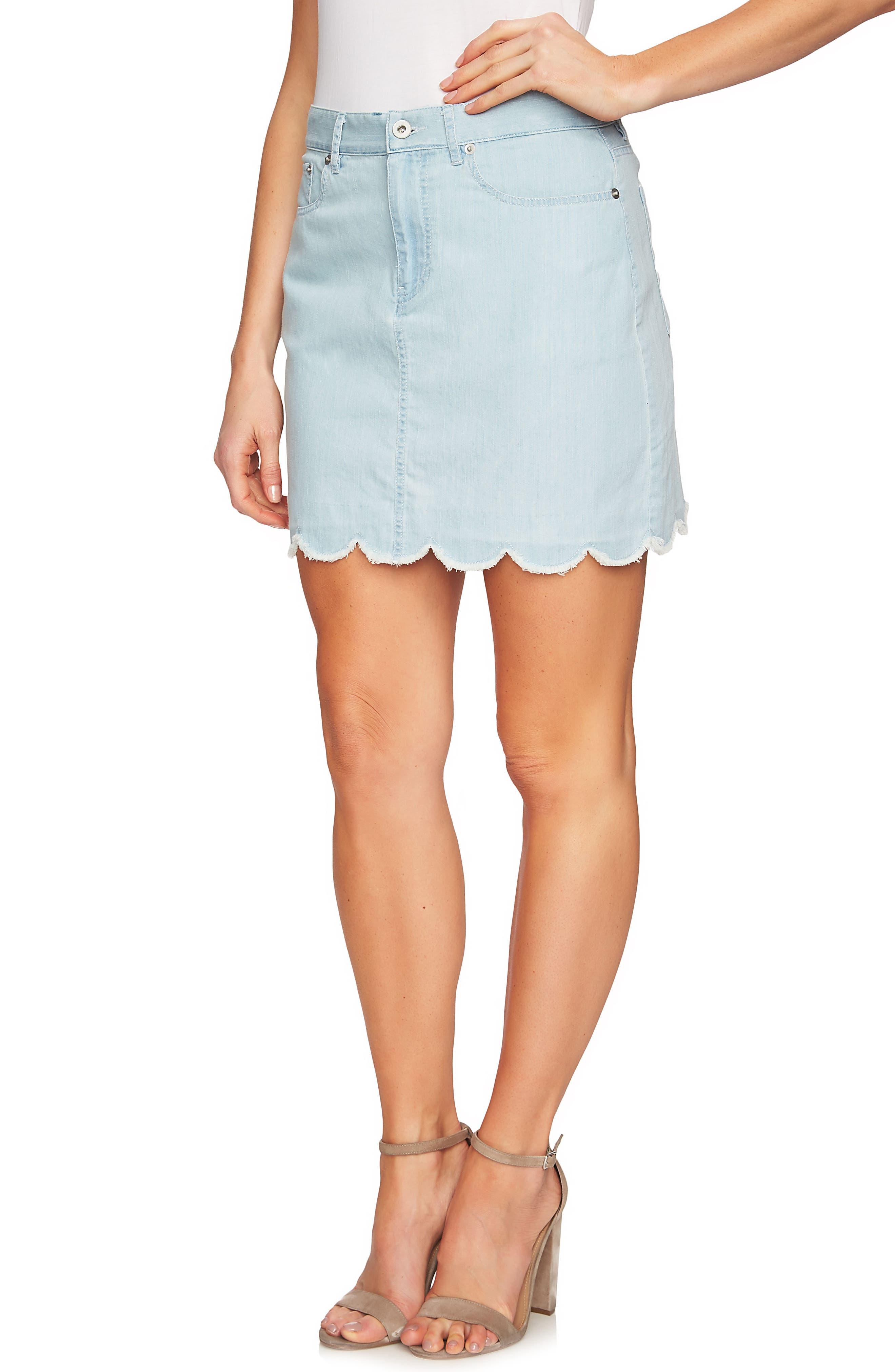 Scalloped Hem Denim Skirt,                             Alternate thumbnail 3, color,                             Ocean Drift