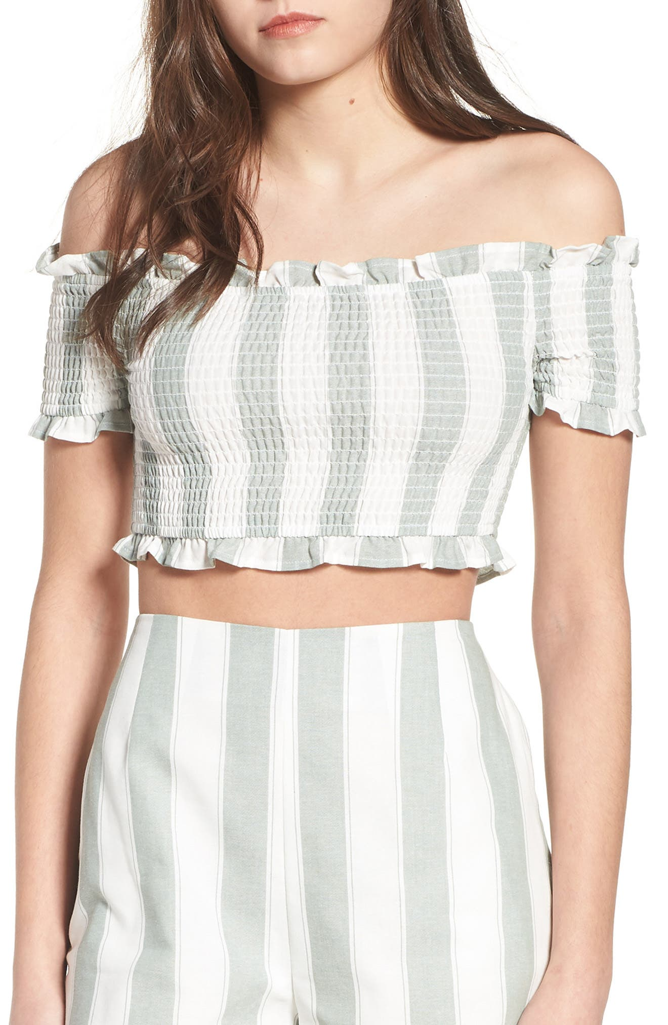 Main Image - The Fifth Label Poetic Stripe Off the Shoulder Crop Top