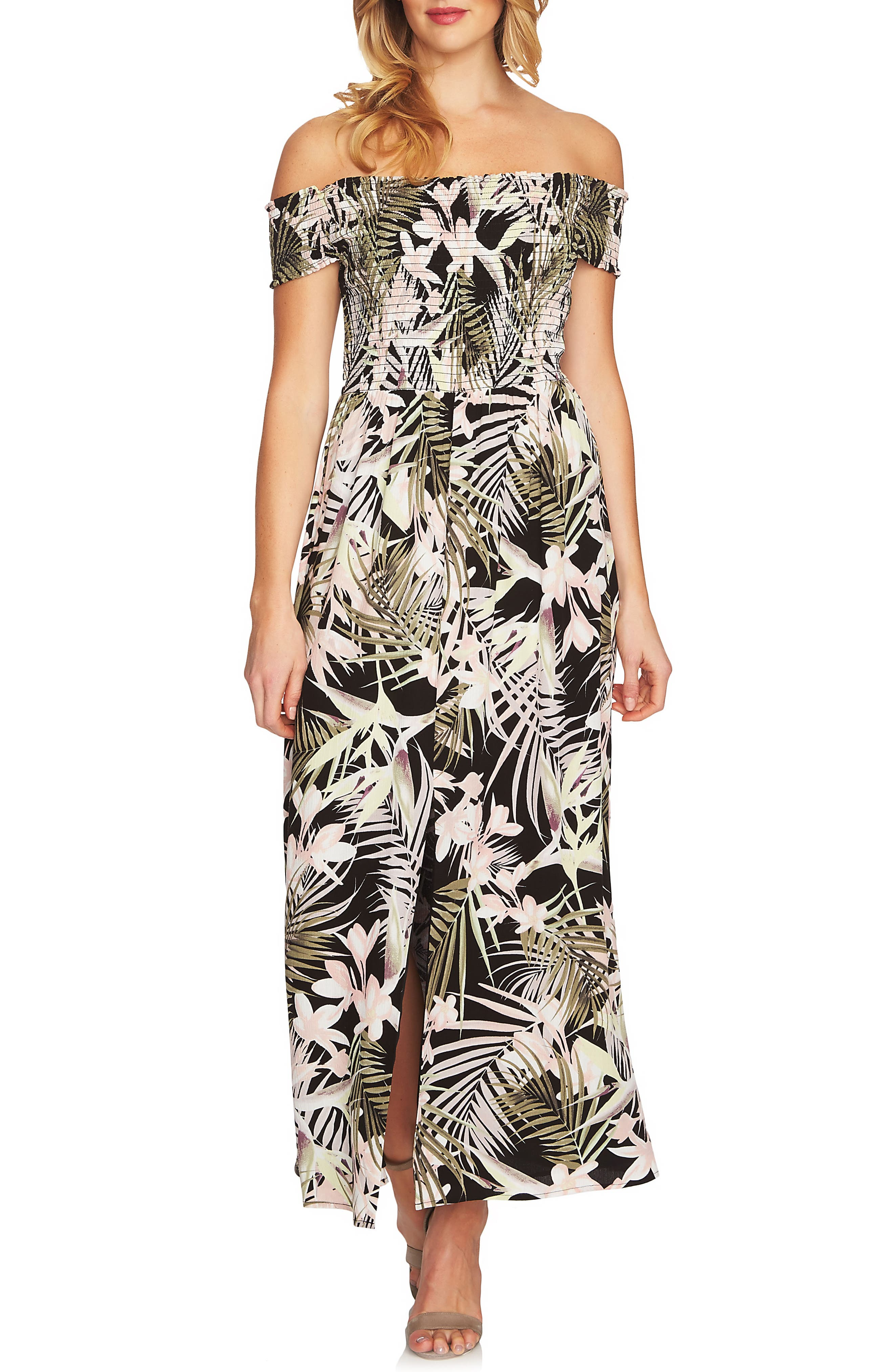 Soft Palm Maxi Dress,                             Main thumbnail 1, color,                             Rich Black