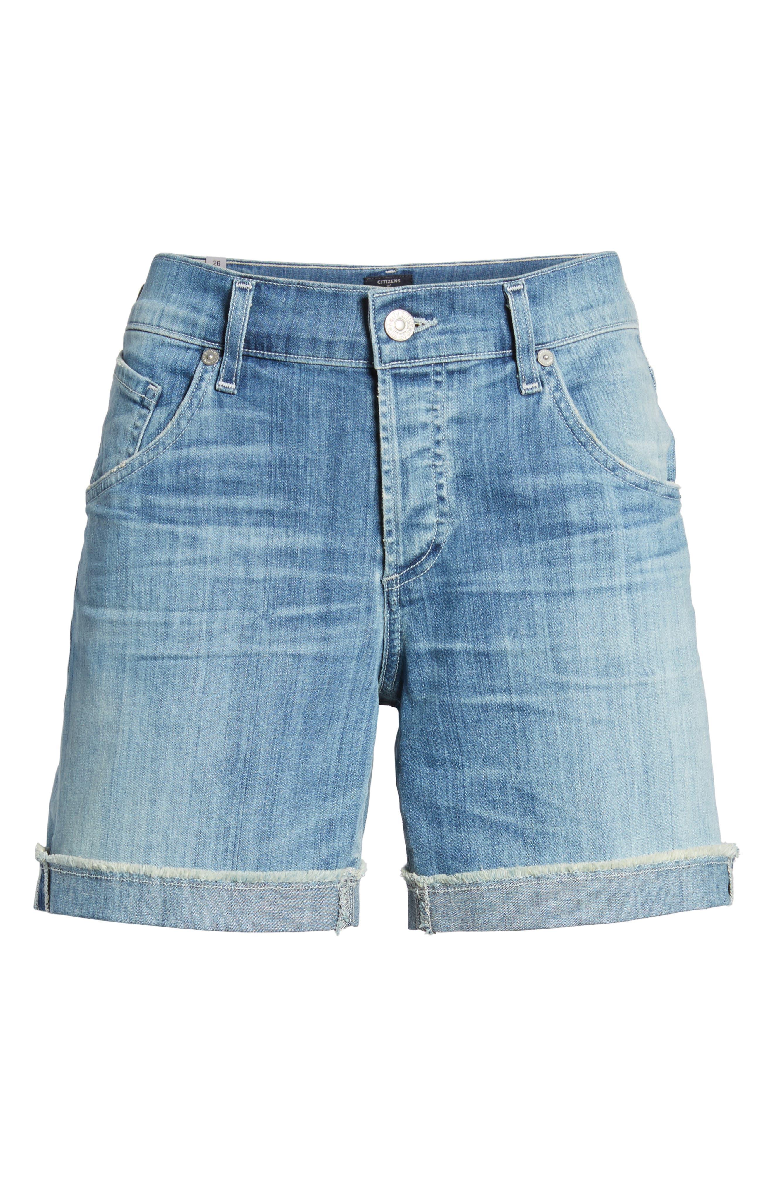 Skyler Denim Shorts,                             Alternate thumbnail 7, color,                             Mercury