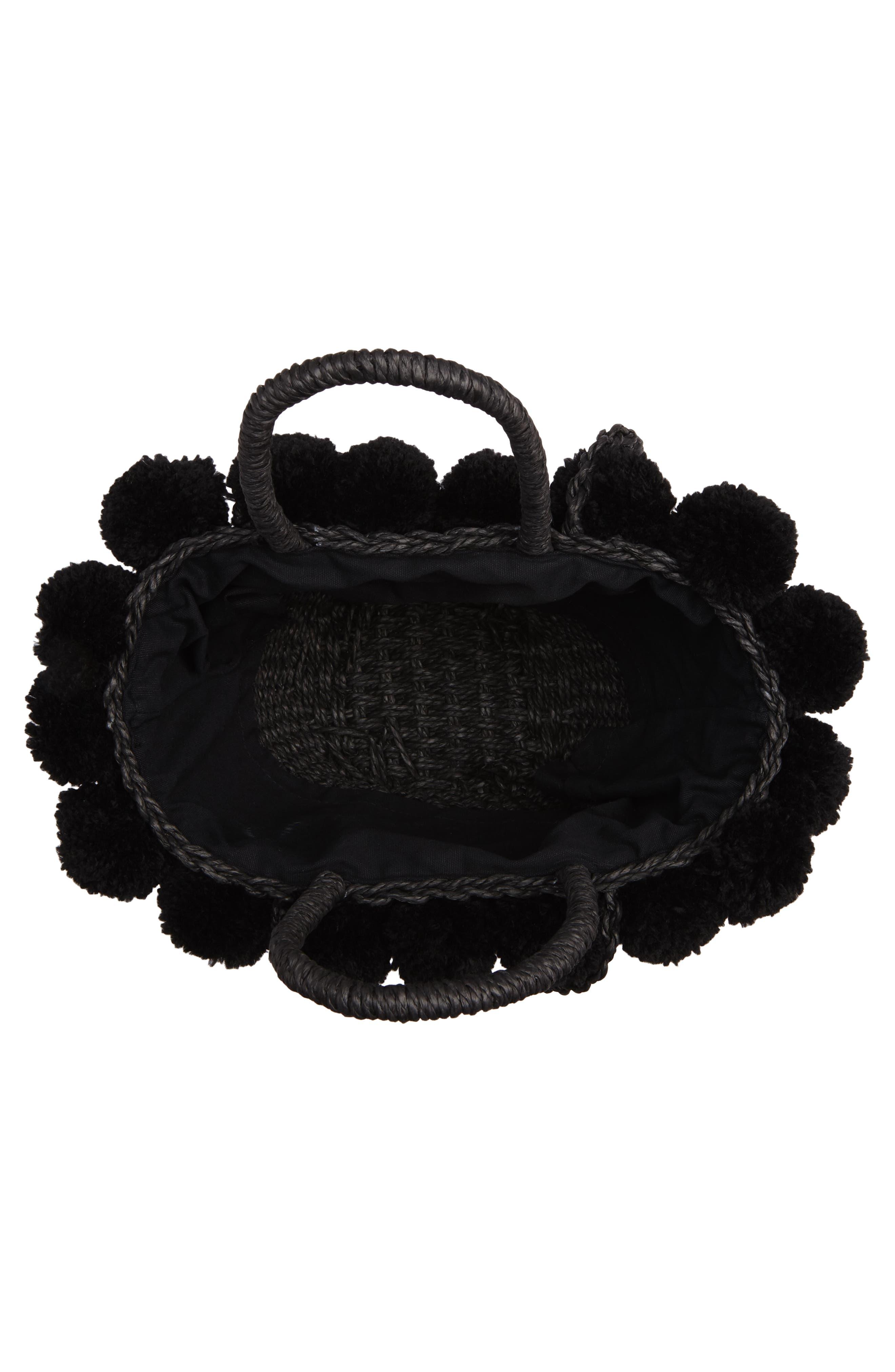 Sia Pom Straw Shopper Bag,                             Alternate thumbnail 4, color,                             Black
