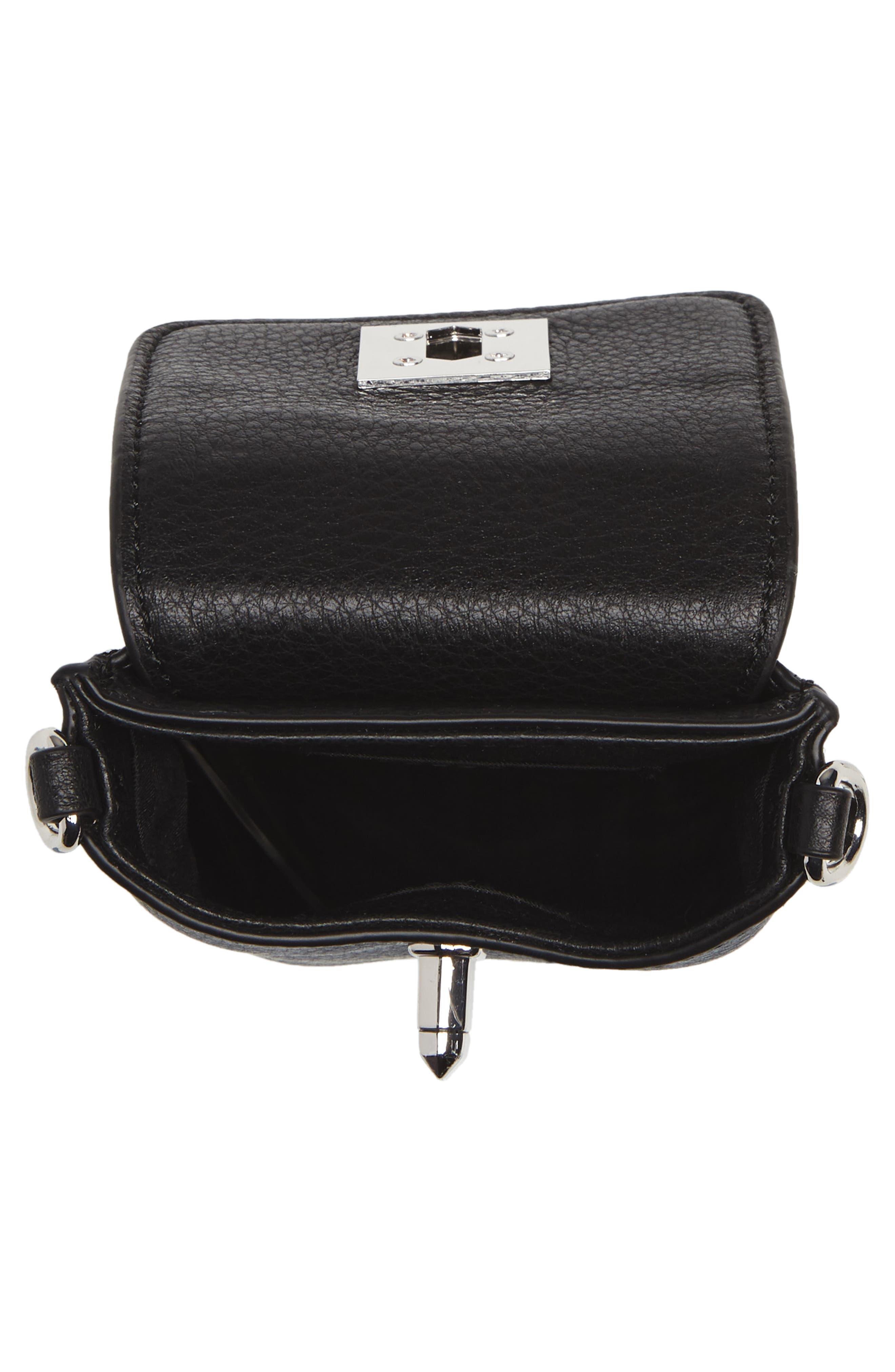 Darren Leather Phone Crossbody Bag,                             Alternate thumbnail 4, color,                             Black