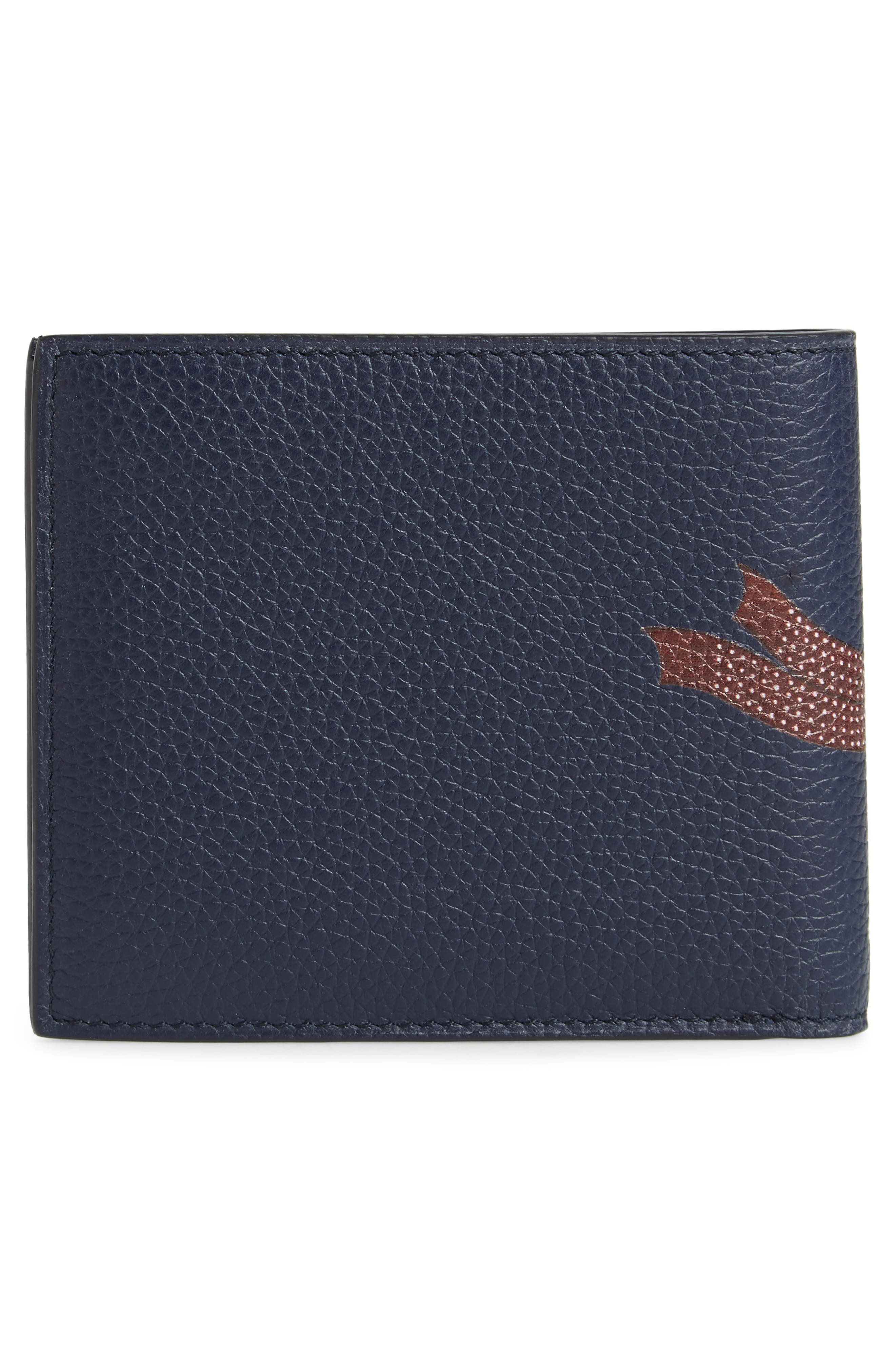 Boston Bulldog Leather Bifold Wallet,                             Alternate thumbnail 3, color,                             Navy
