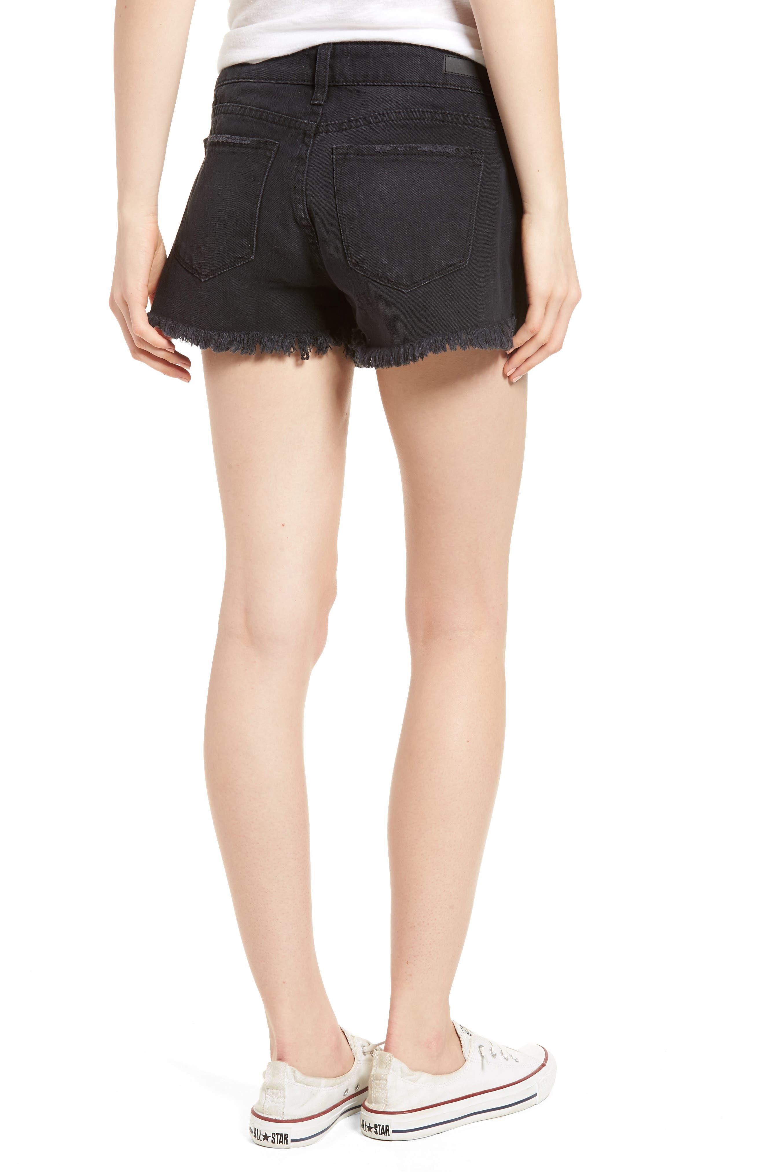 Fray Hem Denim Shorts,                             Alternate thumbnail 2, color,                             Black