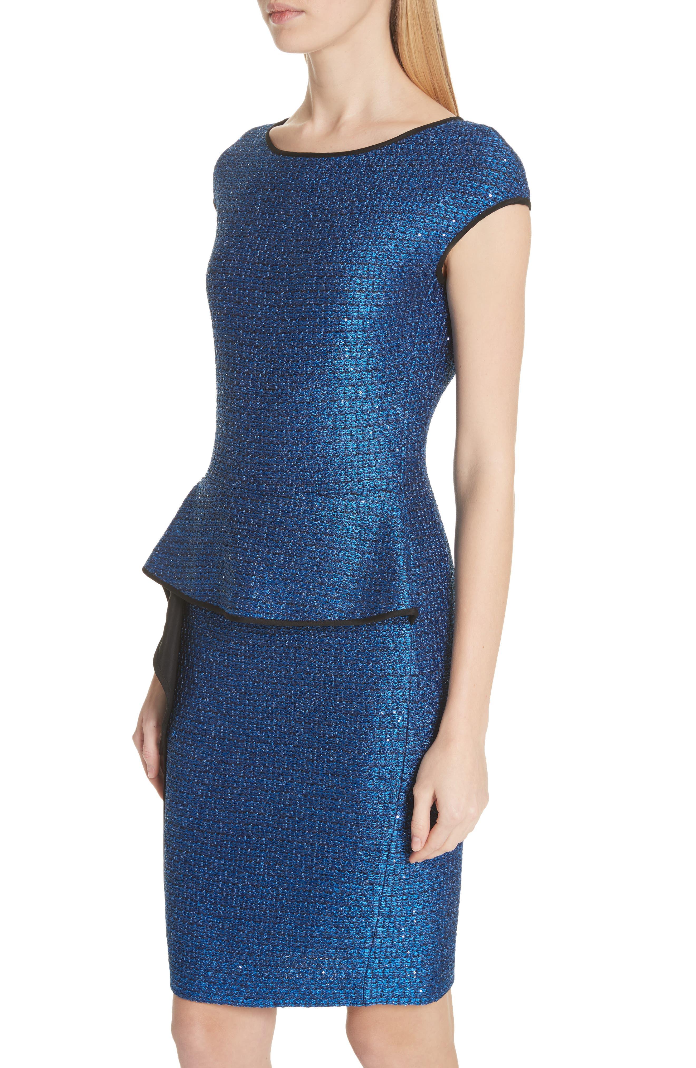 Luster Sequin Knit Dress,                             Alternate thumbnail 4, color,                             Cobalt Multi