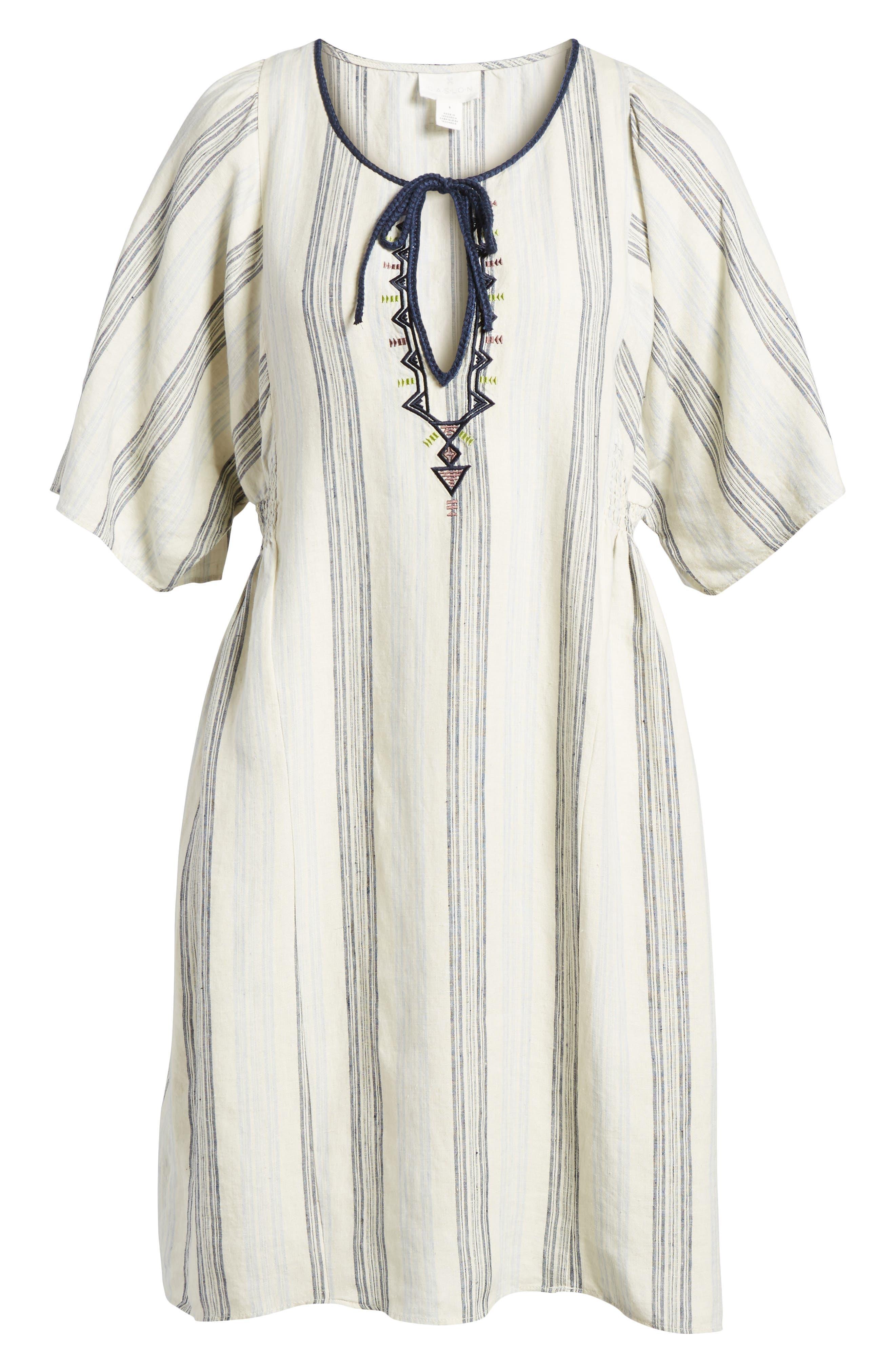 Stripe Linen Keyhole Shift Dress,                             Alternate thumbnail 7, color,                             Beige Rainy Day Frankie Stripe