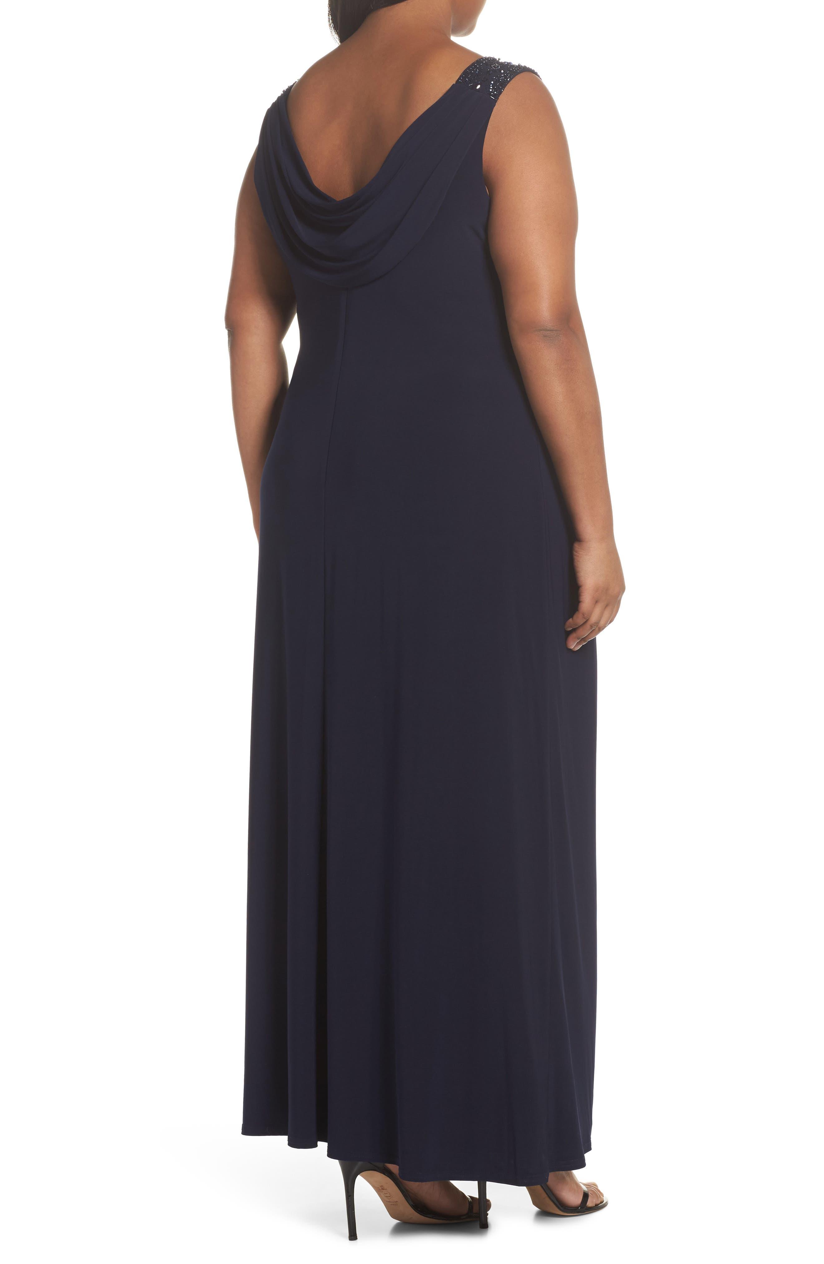 Cowl Neck A-Line Dress,                             Alternate thumbnail 2, color,                             Navy