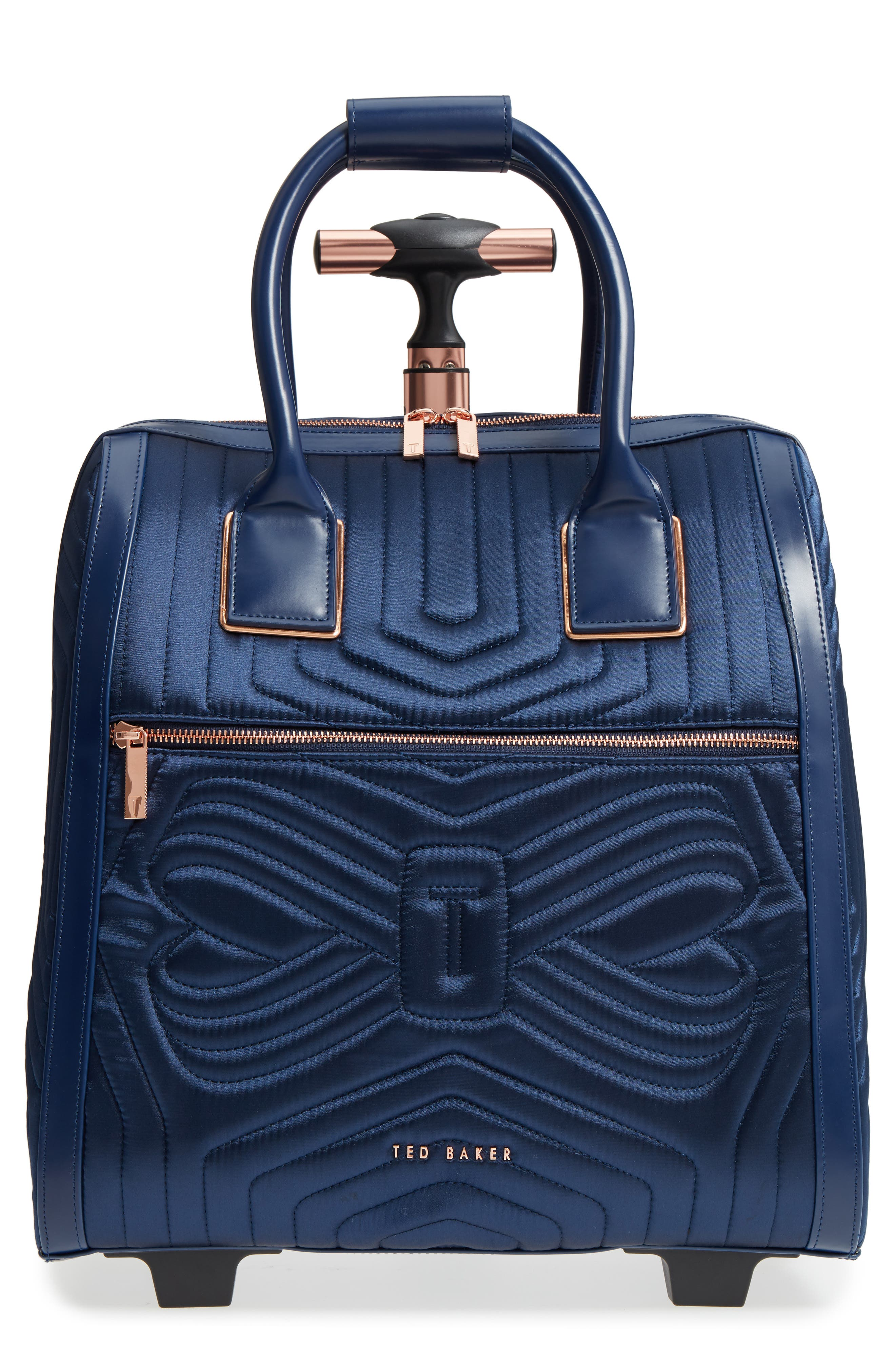 Ted Baker Anisee Quilted Wheeled Travel Bag Blue In Navy