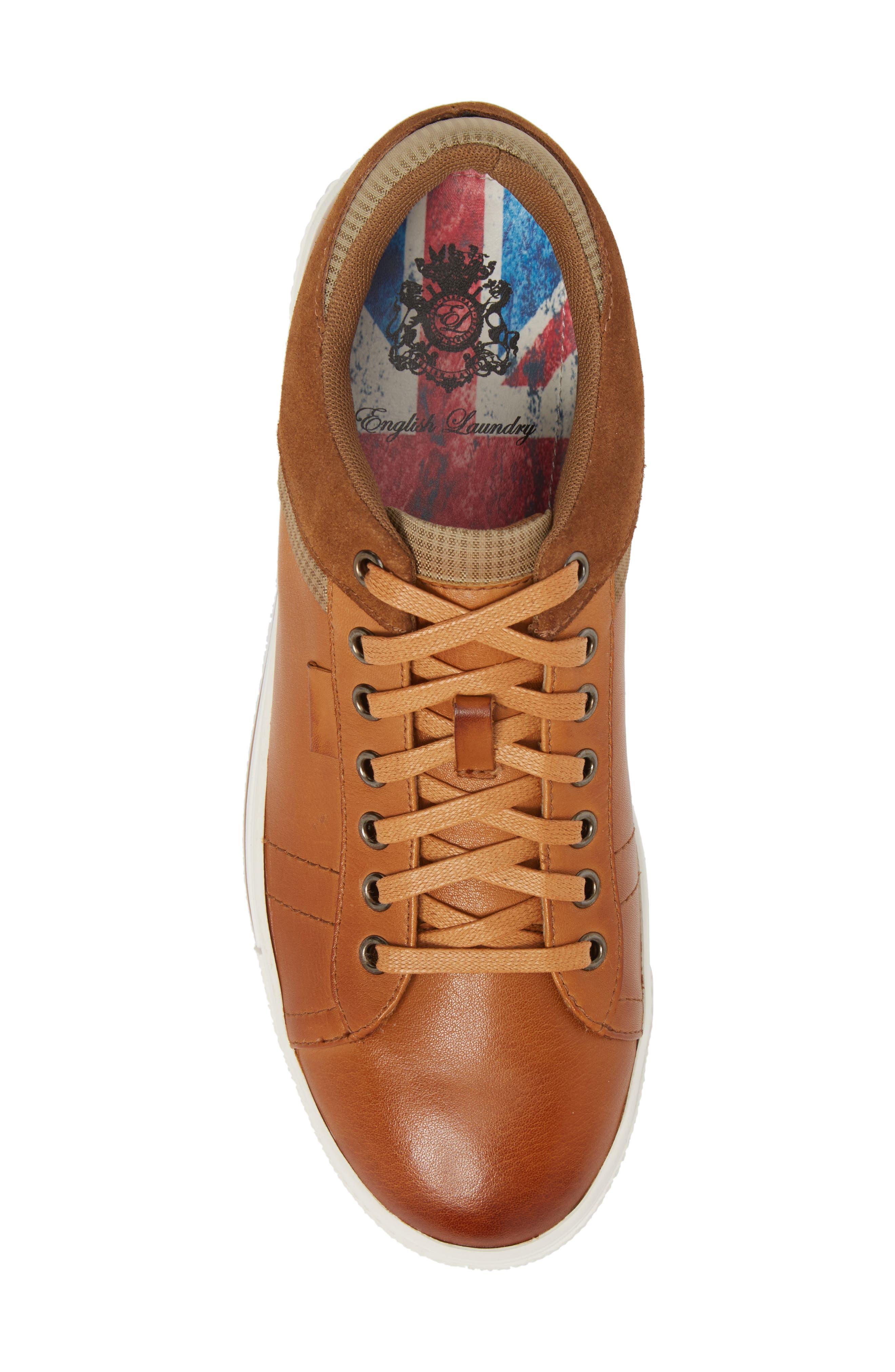 Ireton Low Top Sneaker,                             Alternate thumbnail 5, color,                             Cognac Leather/ Suede