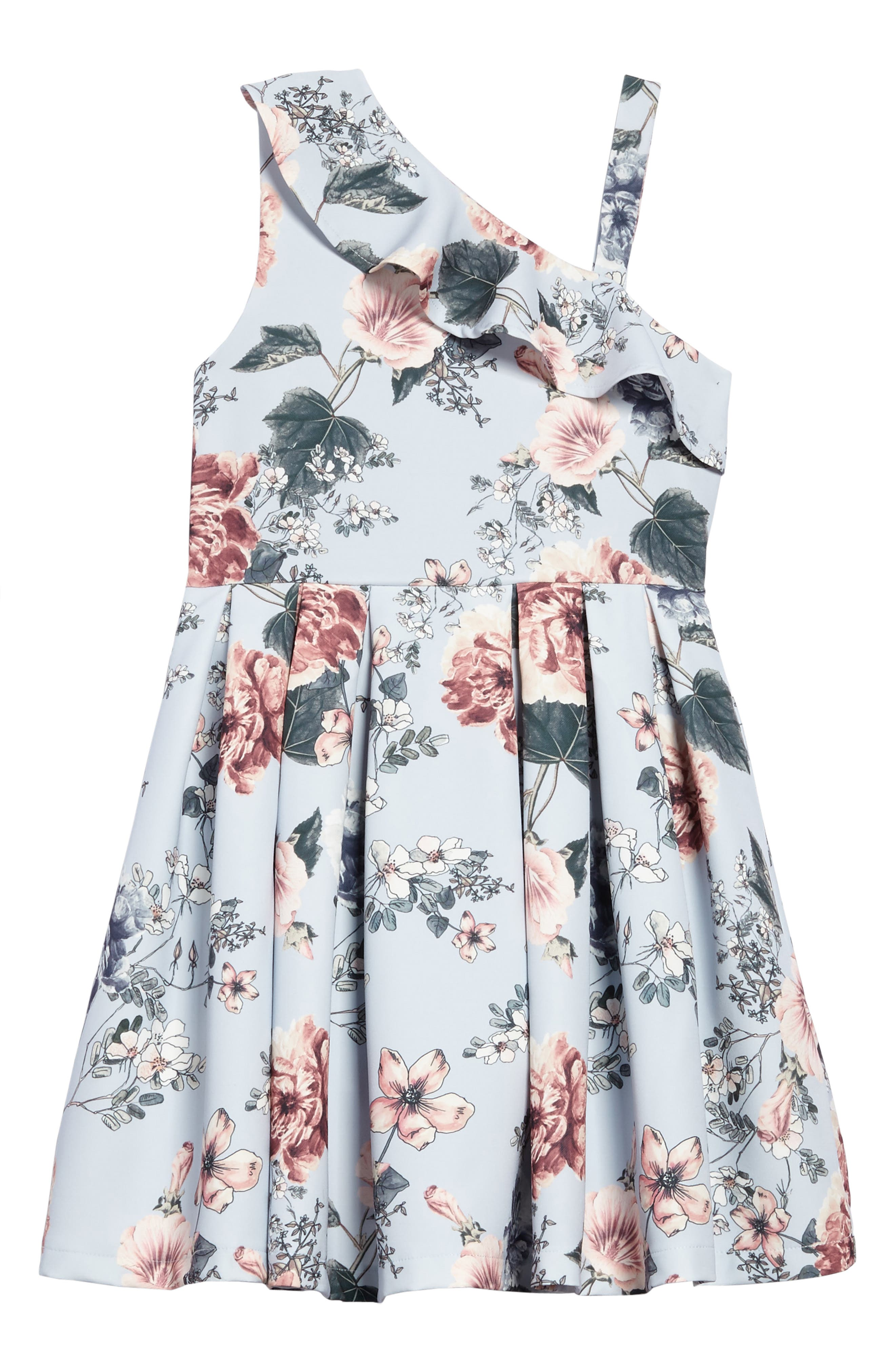 Ebony Floral Ruffle Dress,                             Main thumbnail 1, color,                             Light Blue Floral