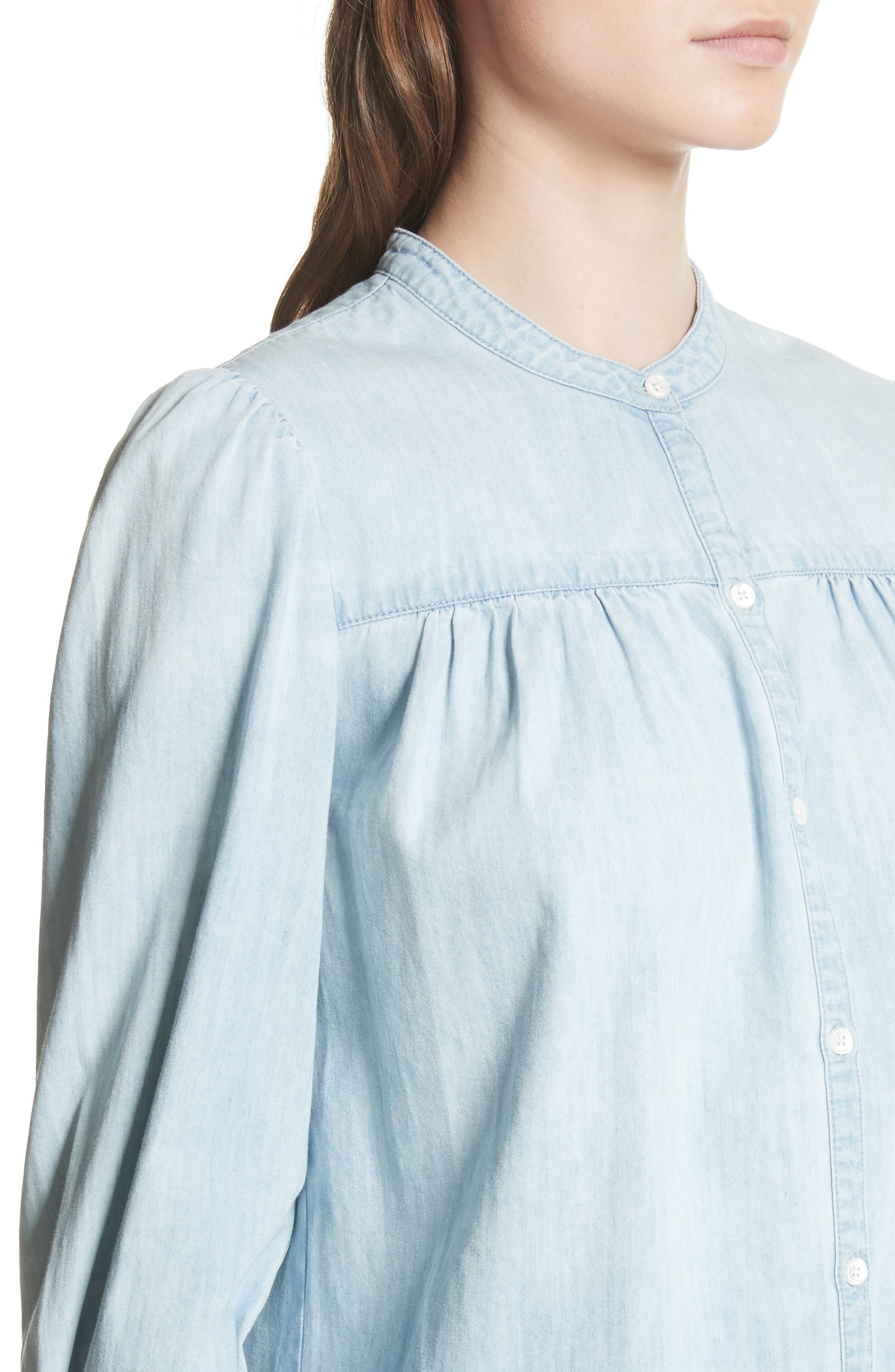 Aubrielle Silk Cotton Chambray Top,                             Alternate thumbnail 4, color,                             Western Fade