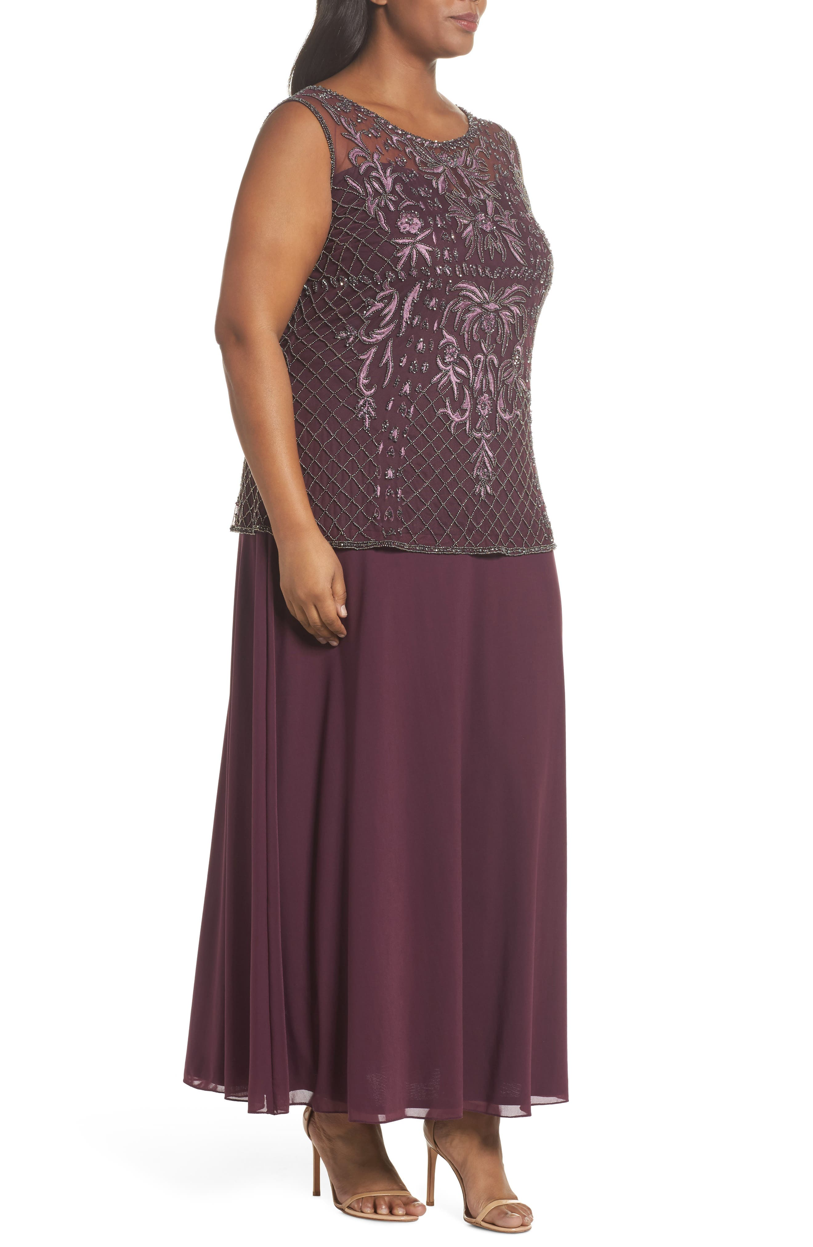 Embellished Gown,                             Alternate thumbnail 3, color,                             Plum