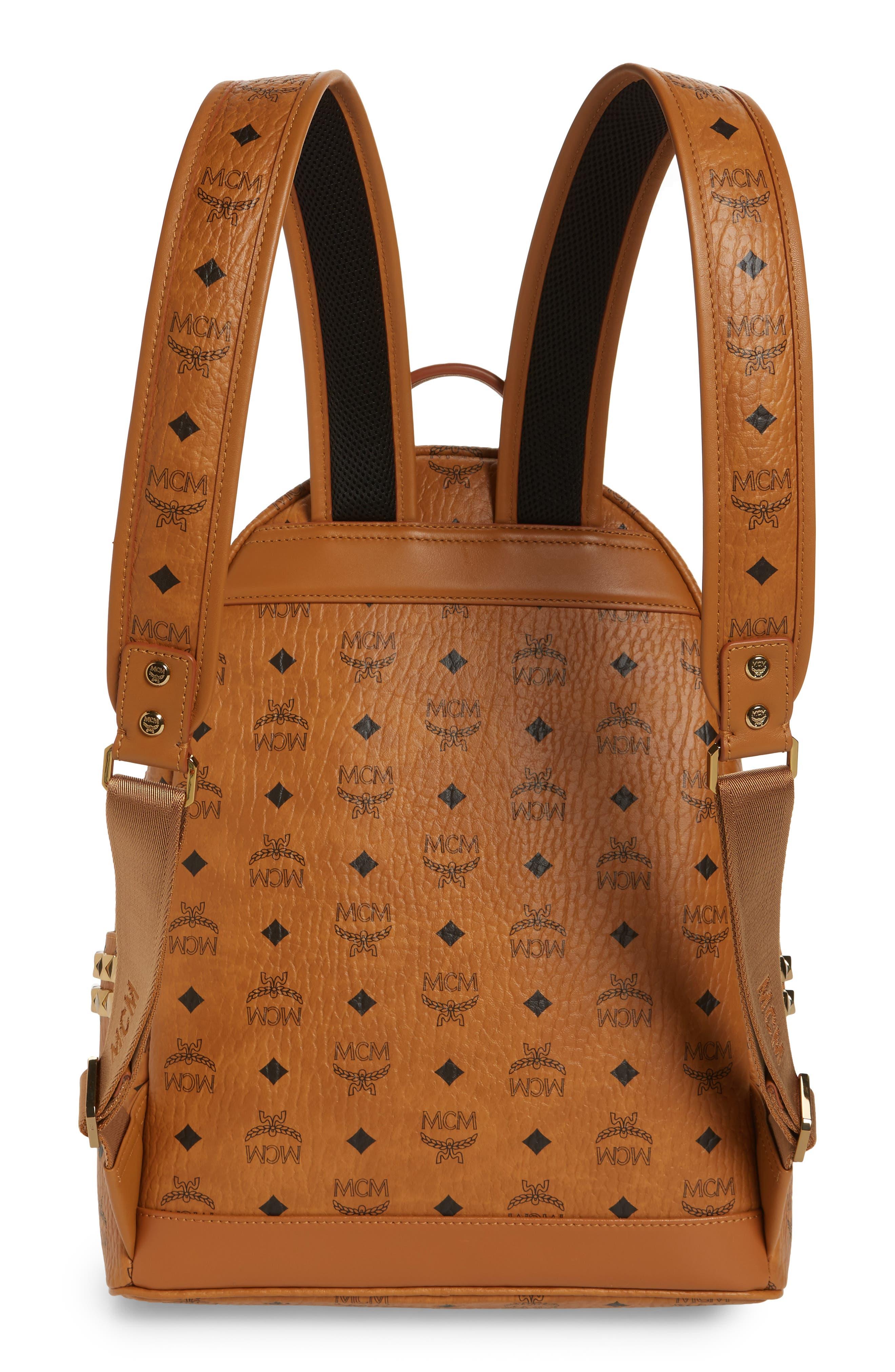 Medium Stark Side Stud Coated Canvas Backpack,                             Alternate thumbnail 3, color,                             Cognac