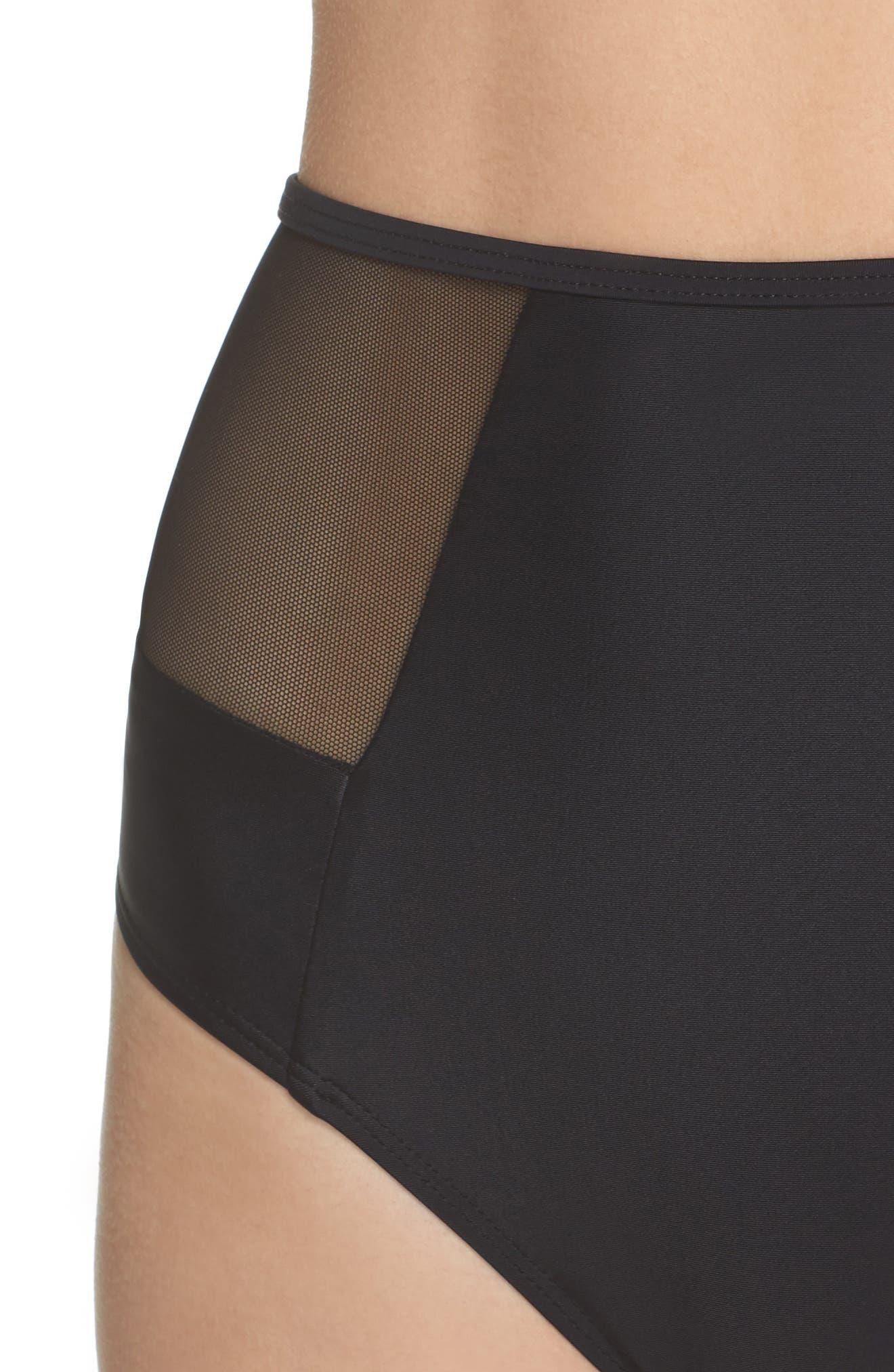 Contour High Waist Bikini Bottoms,                             Alternate thumbnail 4, color,                             Black