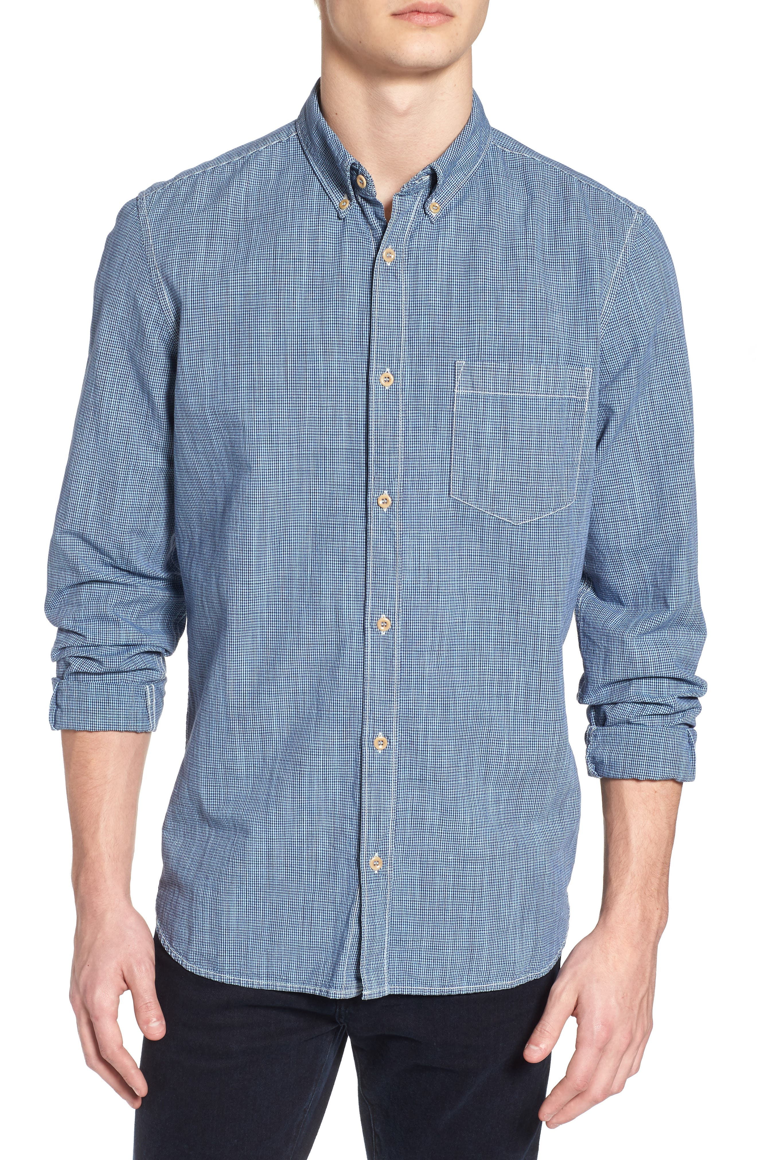 Main Image - French Connection Slim Fit Check Cotton & Linen Sport Shirt